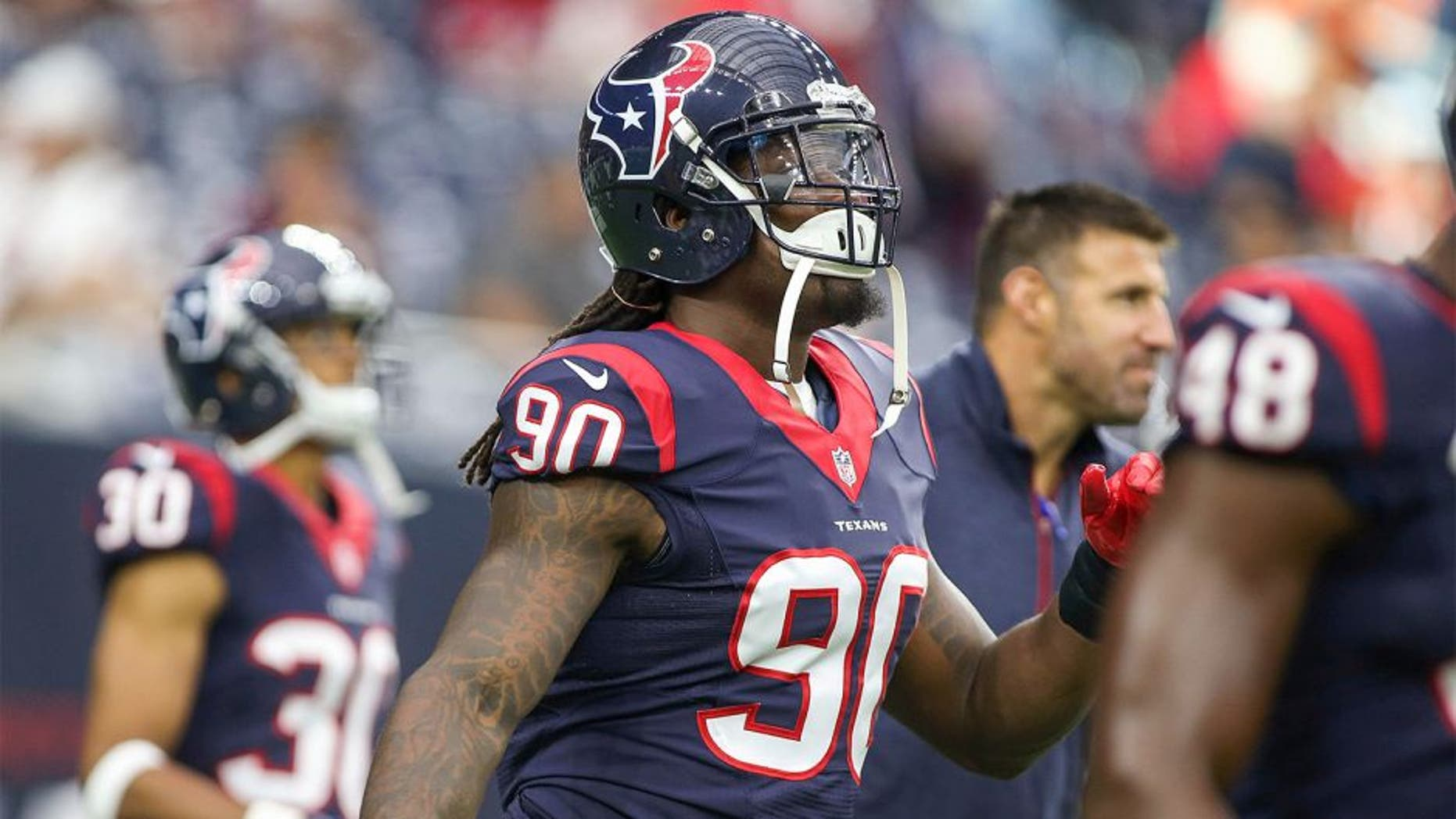 Aug 22, 2015; Houston, TX, USA; Houston Texans outside linebacker Jadeveon Clowney (90) warms up before a game against the Denver Broncos at NRG Stadium. Mandatory Credit: Troy Taormina-USA TODAY Sports