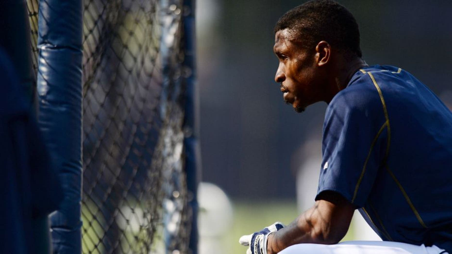 Aug 21, 2015; San Diego, CA, USA; San Diego Padres center fielder Melvin Upton Jr. (2) looks on during batting practice prior to the game against the St. Louis Cardinals at Petco Park. Mandatory Credit: Jake Roth-USA TODAY Sports