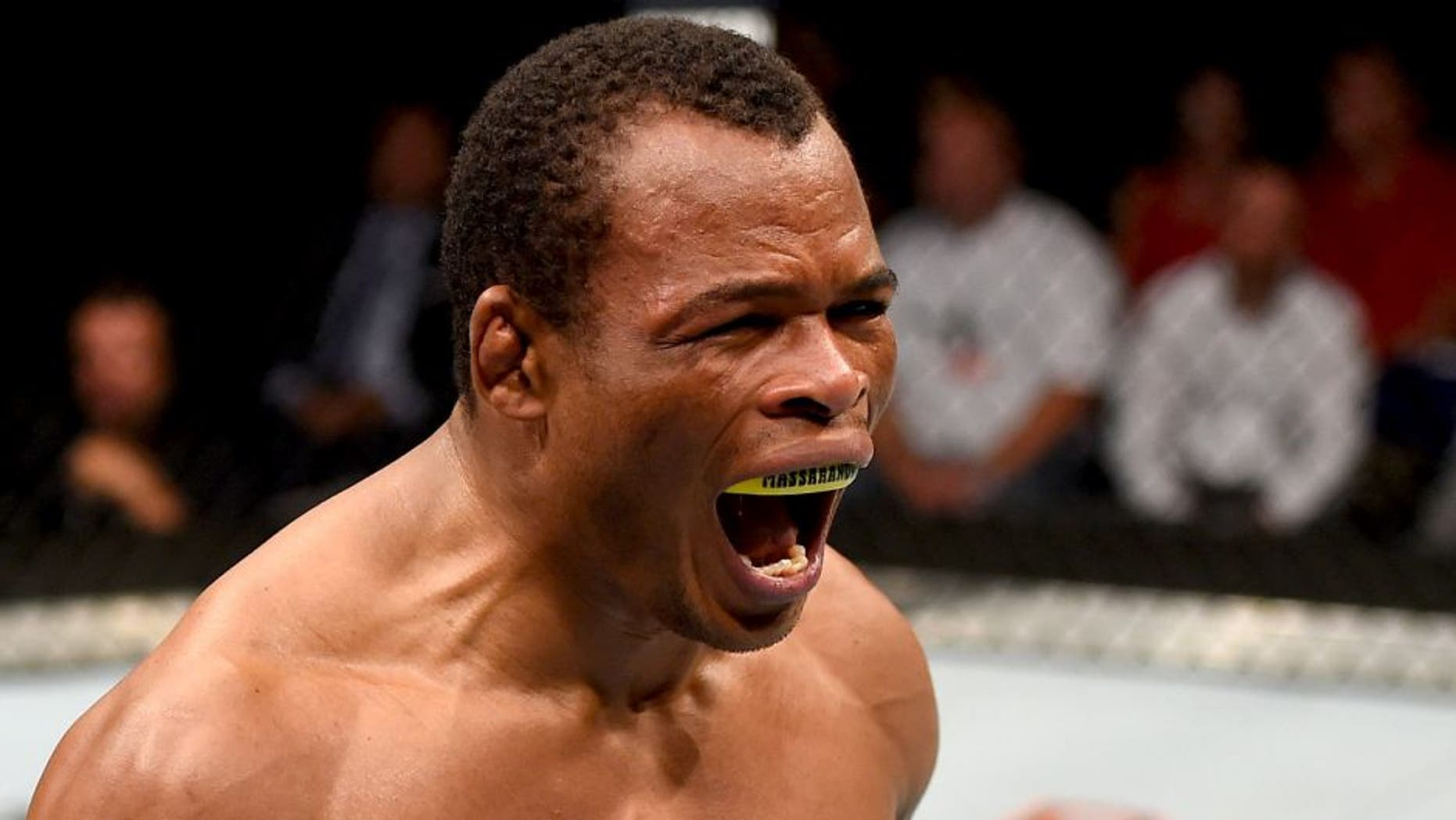 SASKATOON, SK - AUGUST 23: Francisco Trinaldo of Brazil celebrates after his TKO victory over Chad Laprise in their lightweight bout during the UFC event at the SaskTel Centre on August 23, 2015 in Saskatoon, Saskatchewan, Canada. (Photo by Jeff Bottari/Zuffa LLC/Zuffa LLC via Getty Images)