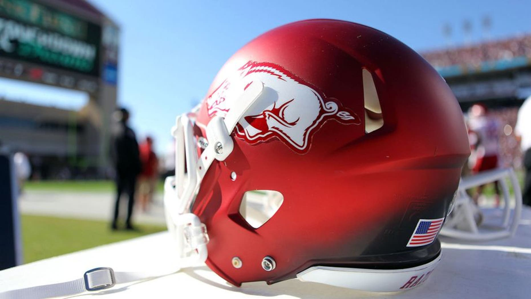 Nov 17, 2012; Starkville, MS, USA; Arkansas Razorbacks helmet during the game between the Mississippi State Bulldogs and the Arkansas Razorbacks at Davis Wade Stadium. Mississippi State Bulldogs defeated the Arkansas Razorbacks 45-14. Mandatory Credit: Spruce Derden–USA TODAY Sports
