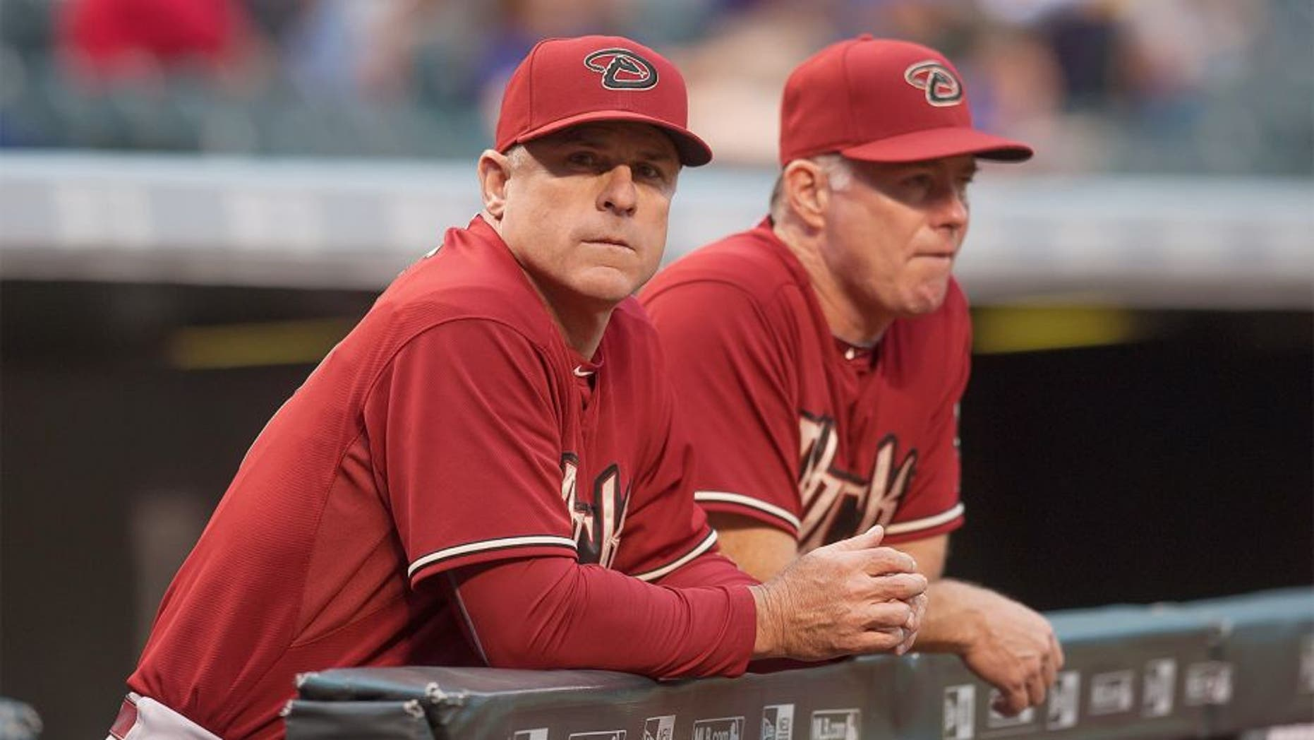 DENVER, CO - JUNE 24: Chip Hale #3 of the Arizona Diamondbacks looks out from the dugout in the first inning of a game against the Colorado Rockies at Coors Field on June 24, 2015 in Denver, Colorado. (Photo by Dustin Bradford/Getty Images)