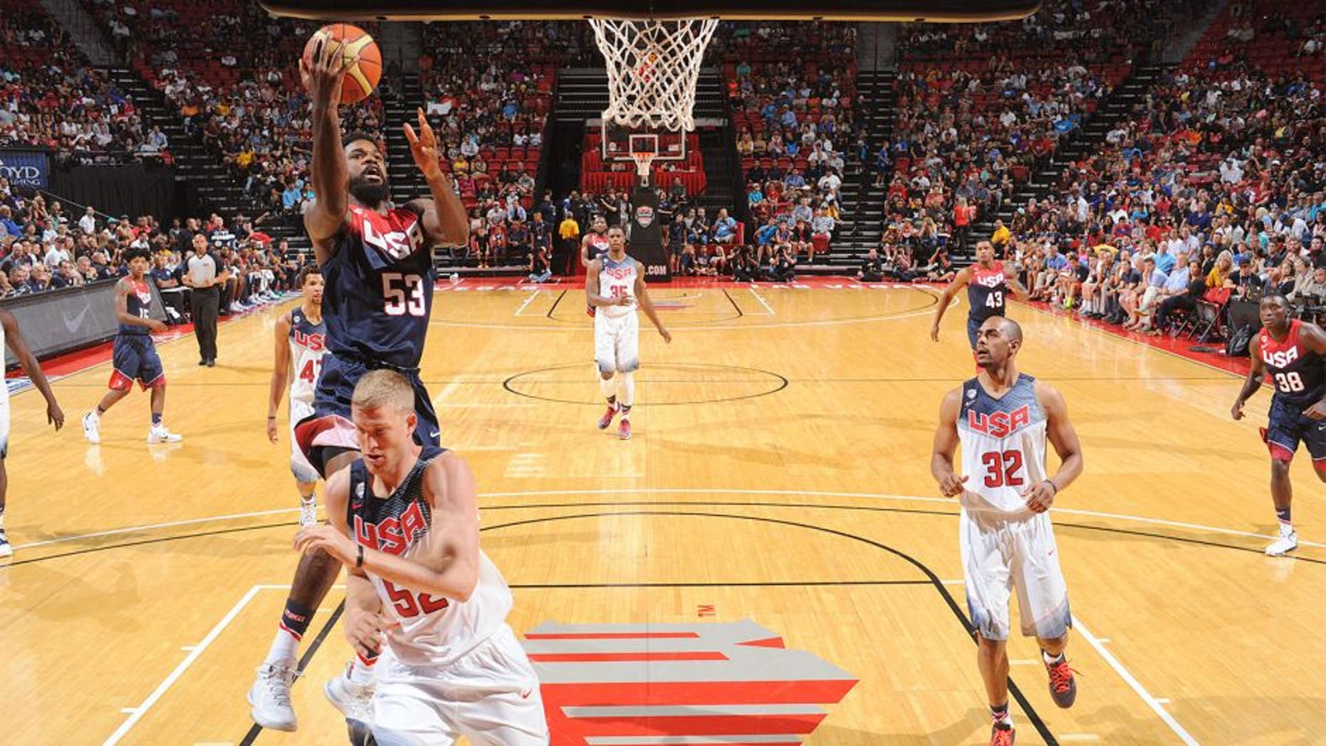 LAS VEGAS, NV - AUGUST 13: Amir Johnson #53 of the USA Blue Team goes up for a shot against the USA White Team during Team USA Basketball Showcase on August 13, 2015 at the Thomas & Mack Center in Las Vegas, Nevada. NOTE TO USER: User expressly acknowledges and agrees that, by downloading and/or using this Photograph, user is consenting to the terms and conditions of the Getty Images License Agreement. Mandatory Copyright Notice: Copyright 2015 NBAE (Photo by Garrett Ellwood/NBAE via Getty Images)