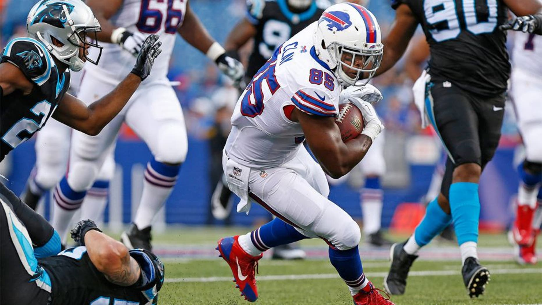 Aug 14, 2015; Orchard Park, NY, USA; Buffalo Bills tight end Charles Clay (85) runs with the ball after a catch against the Carolina Panthers during the first quarter at a preseason NFL football game at Ralph Wilson Stadium. Mandatory Credit: Kevin Hoffman-USA TODAY Sports