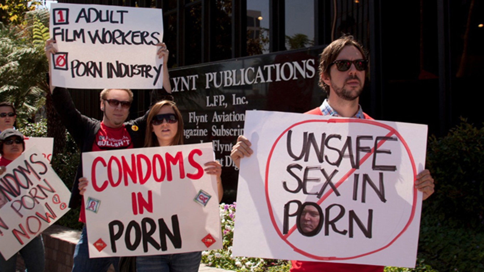 Aug. 26: Protesters came together outside porn producer - Larry Flynt's corporate headquarters today in Beverly Hills in support of complaints made to Cal/OSHA regarding the blacklist on the use of condoms in adult films.