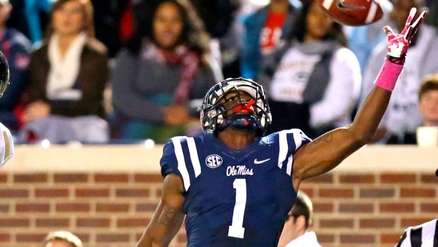 Oct 26, 2013; Oxford, MS, USA; Mississippi Rebels wide receiver Laquon Treadwell (1) catches the ball against the Idaho Vandalsat Vaught-Hemingway Stadium. Mandatory Credit: Spruce Derden-USA TODAY Sports