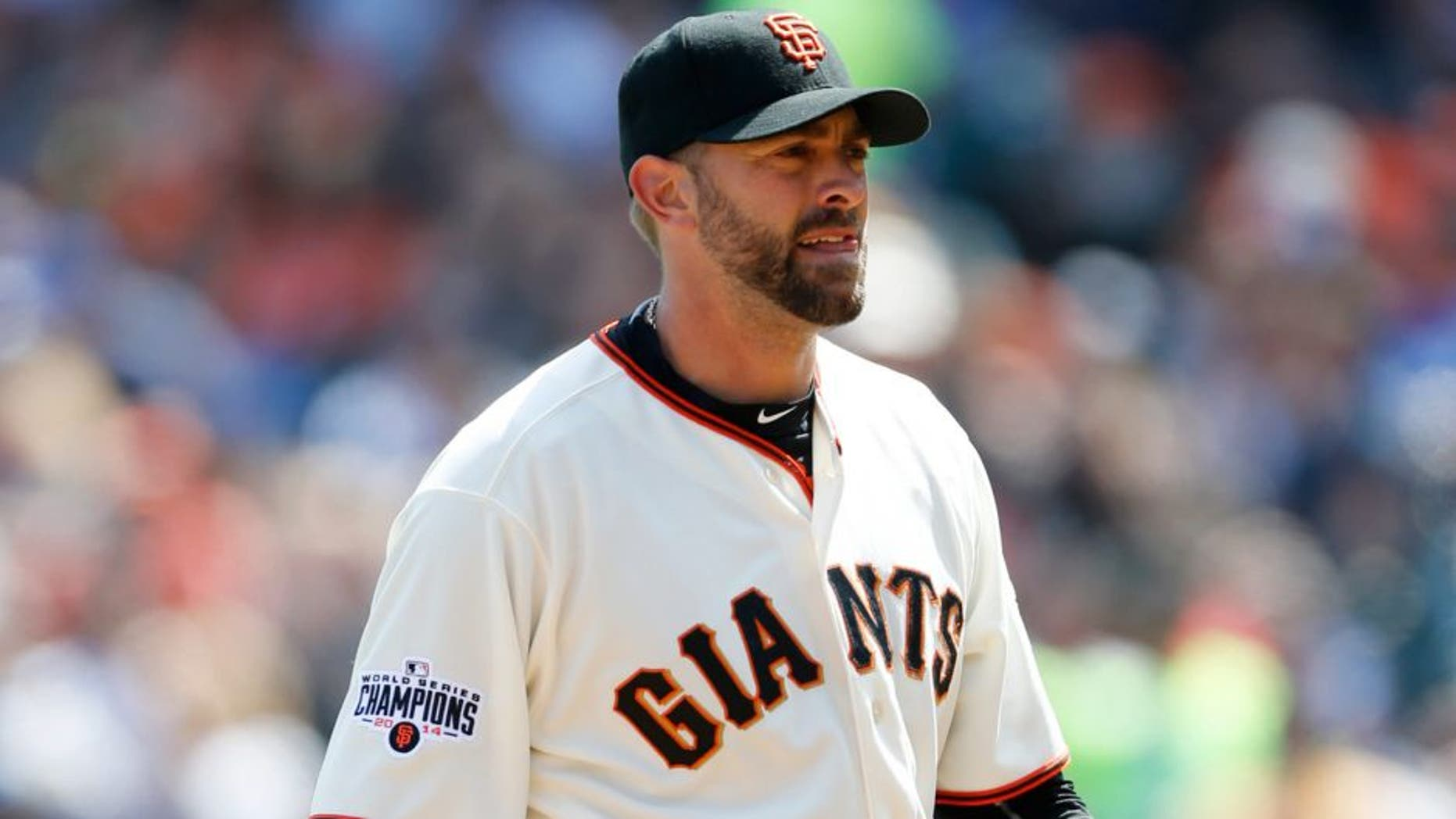 SAN FRANCISCO, CA - APRIL 23: Jeremy Affeldt #41 of the San Francisco Giants stands on the field during the game against the Los Angeles Dodgers at AT&T Park on April 23, 2015 in San Francisco, California. The Giants defeated the Dodgers 3-2. (Photo by Michael Zagaris/Getty Images)