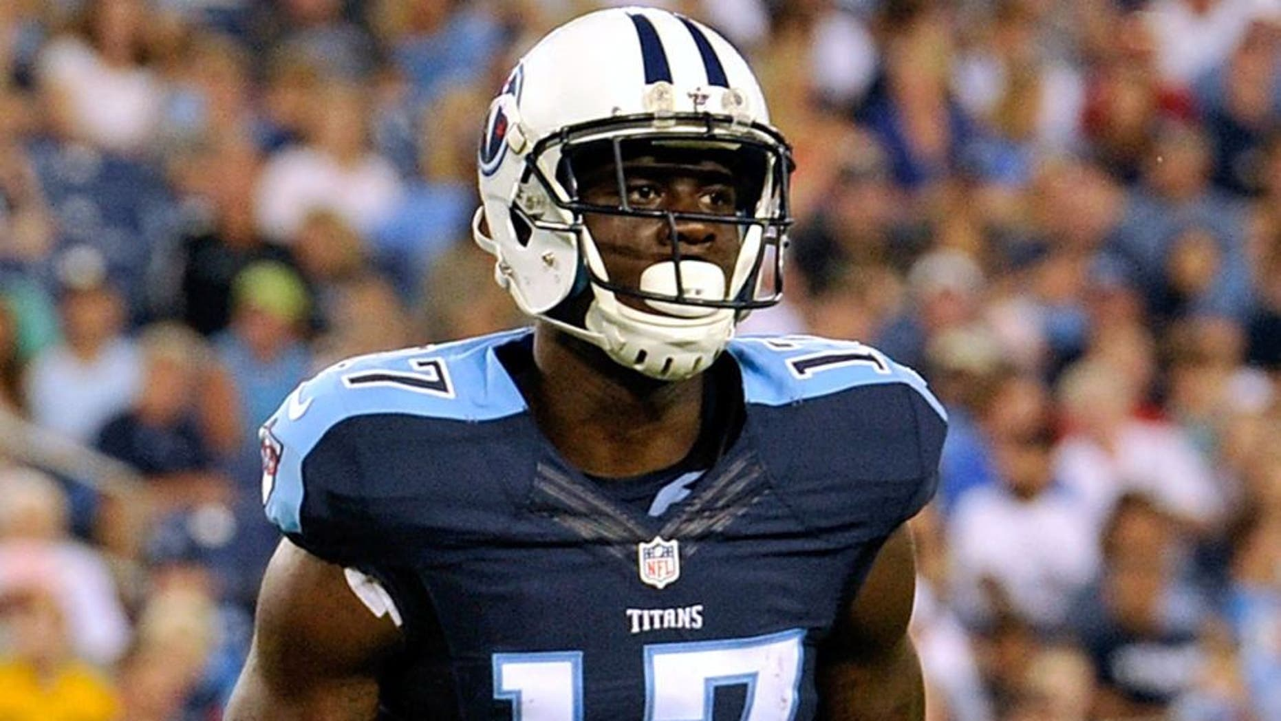 NASHVILLE, TN - AUGUST 23: Dorial Green-Beckham #17 of the Tennessee Titans plays during a pre-season game against the St. Louis Rams at Nissan Stadium on August 23, 2015 in Nashville, Tennessee. (Photo by Frederick Breedon/Getty Images)
