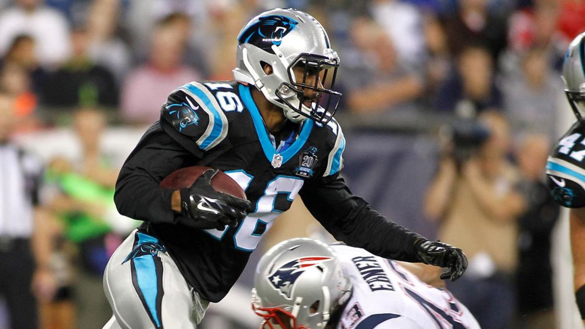 Aug 22, 2014; Foxborough, MA, USA; Carolina Panthers wide receiver Philly Brown (16) runs against the New England Patriots during the first quarter at Gillette Stadium. Mandatory Credit: Stew Milne-USA TODAY Sports