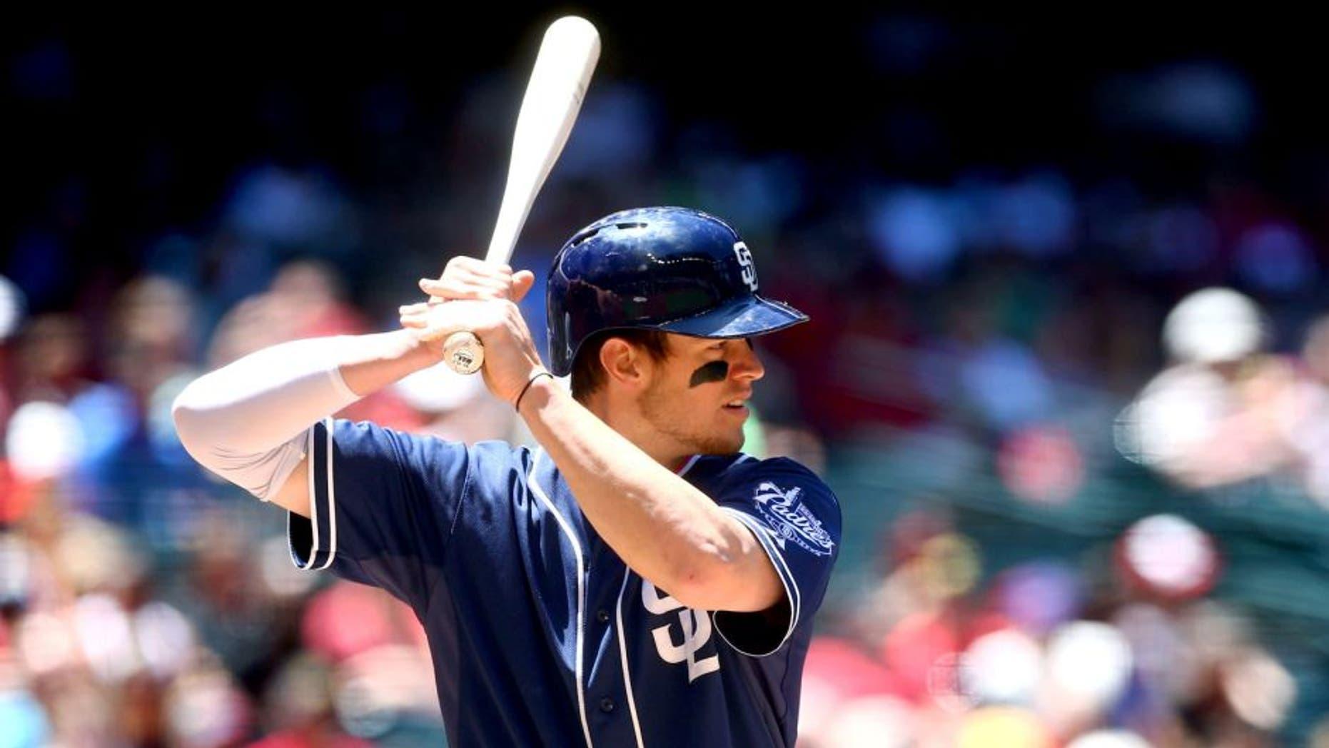 May 10, 2015; Phoenix, AZ, USA; San Diego Padres first baseman Wil Myers against the Arizona Diamondbacks at Chase Field. Mandatory Credit: Mark J. Rebilas-USA TODAY Sports