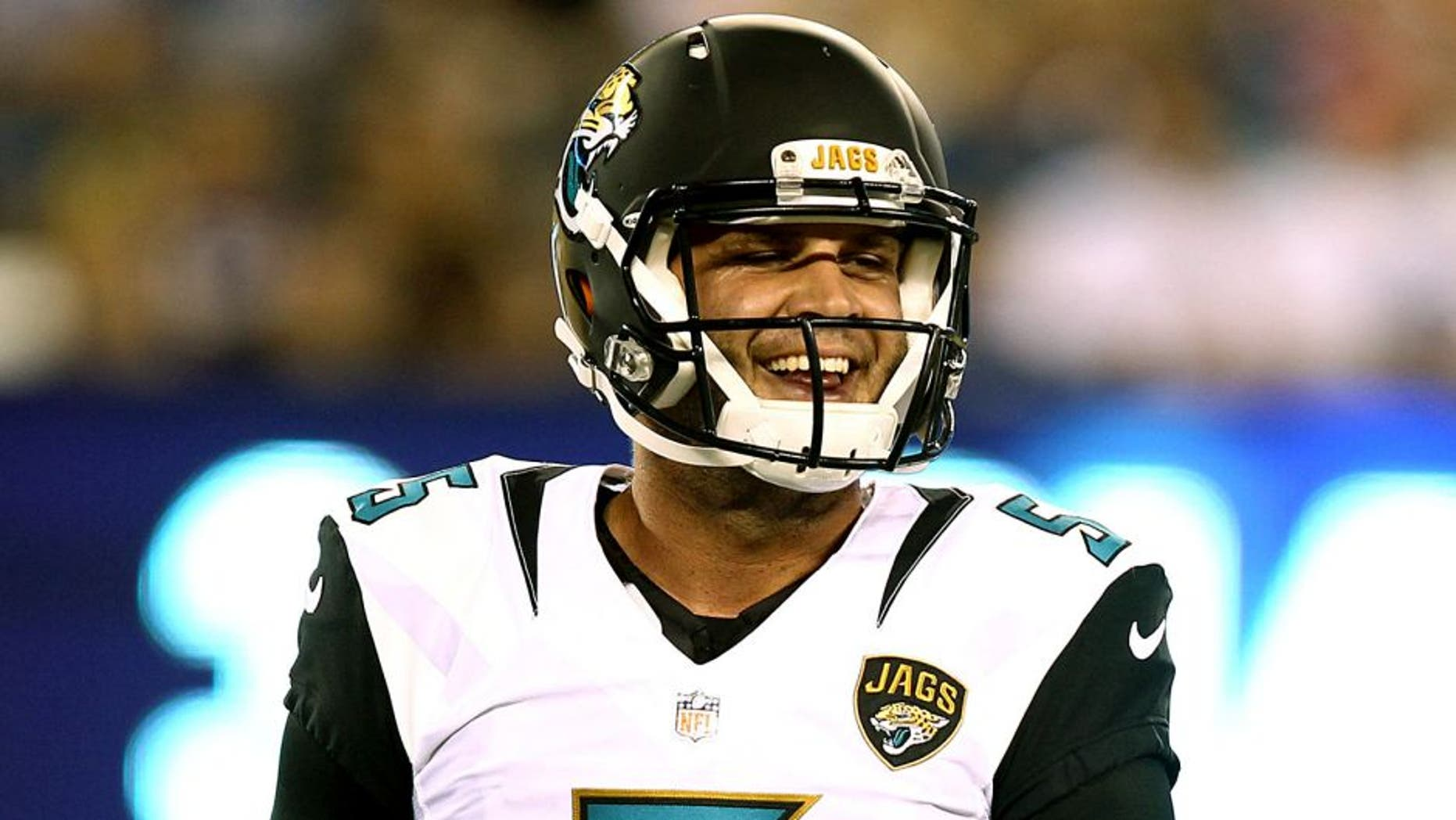 Aug 22, 2015; East Rutherford, NJ, USA; Jacksonville Jaguars quarterback Blake Bortles (5) smiles during the first half against the New York Giants at MetLife Stadium. Mandatory Credit: Danny Wild-USA TODAY Sports