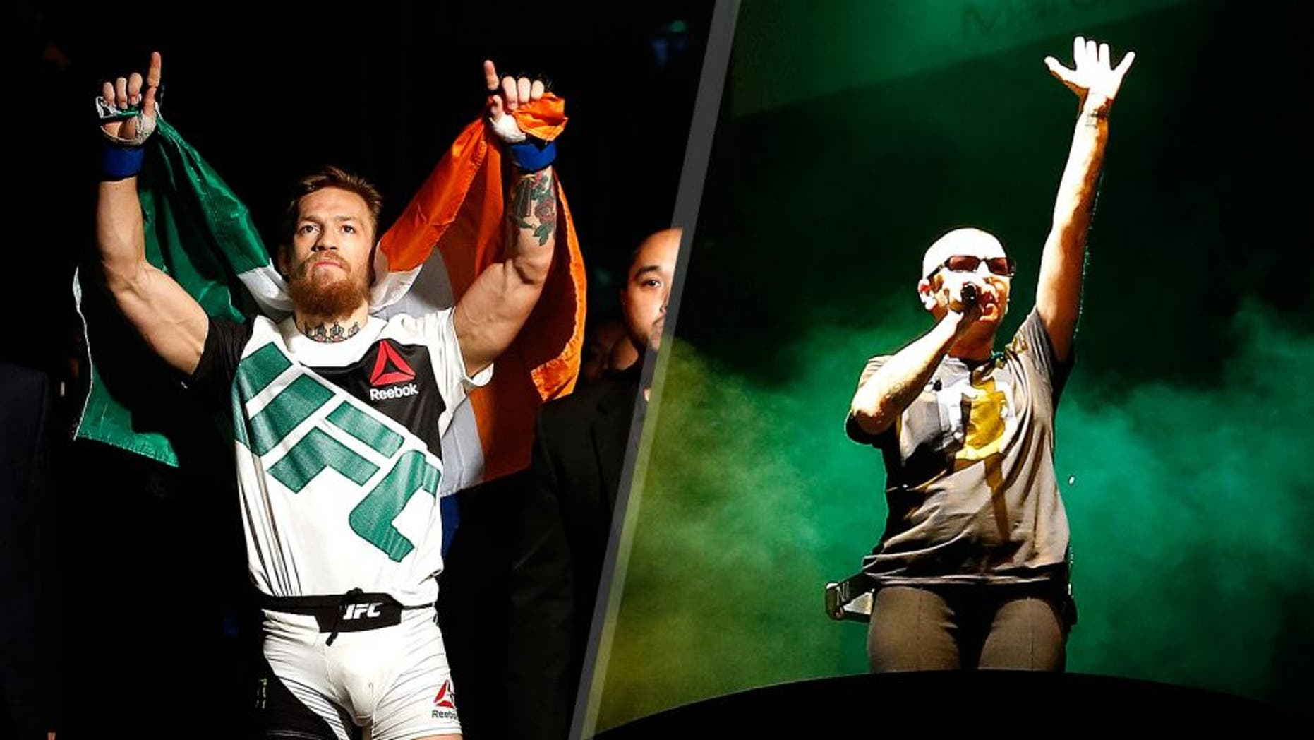 Conor McGregor walks to the Octagon to face Chad Mendes in their UFC interim featherweight title fight during the UFC 189 event inside MGM Grand Garden Arena on July 11, 2015 in Las Vegas, Nevada. (Photo by Christian Petersen/Zuffa LLC/Zuffa LLC via Getty Images) Singer Sinead O'Connor performs during the UFC 189 event inside MGM Grand Garden Arena on July 11, 2015 in Las Vegas, Nevada. (Photo by Christian Petersen/Zuffa LLC/Zuffa LLC via Getty Images)