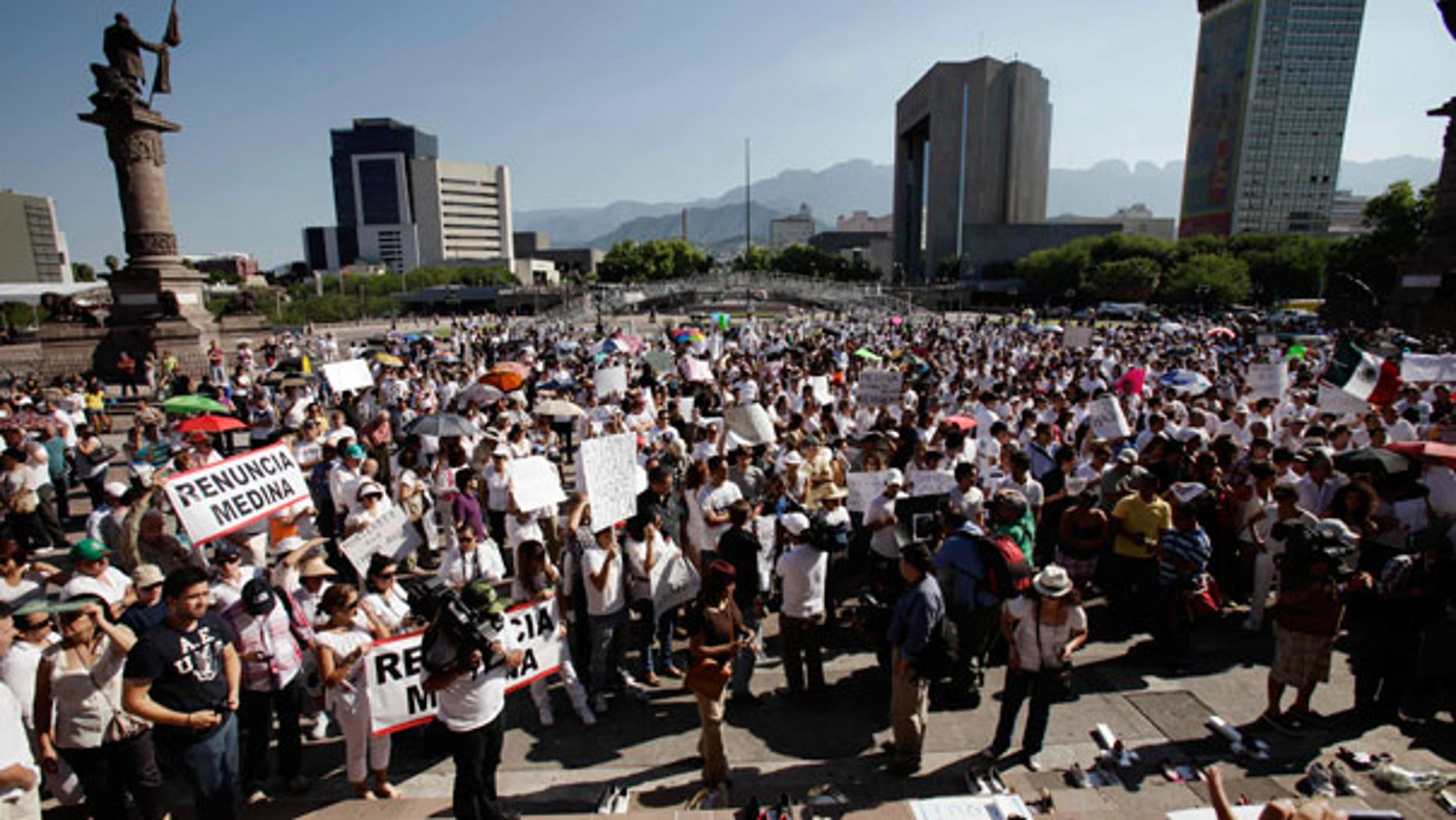 Aug. 28: People demonstrate during a protest in Monterrey, northern Mexico.