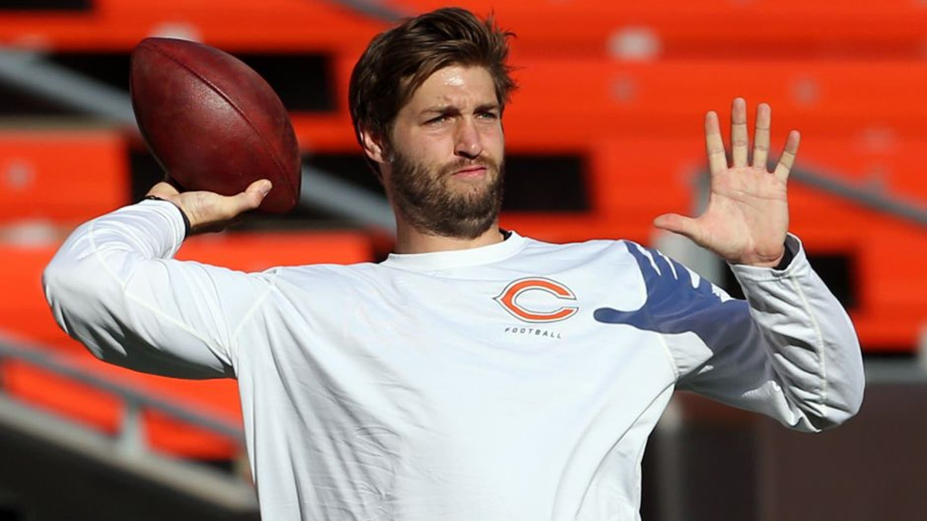 Aug 28, 2014; Cleveland, OH, USA; Chicago Bears quarterback Jay Cutler (6) warms up before a game against the Cleveland Browns at FirstEnergy Stadium. Mandatory Credit: Ron Schwane-USA TODAY Sports