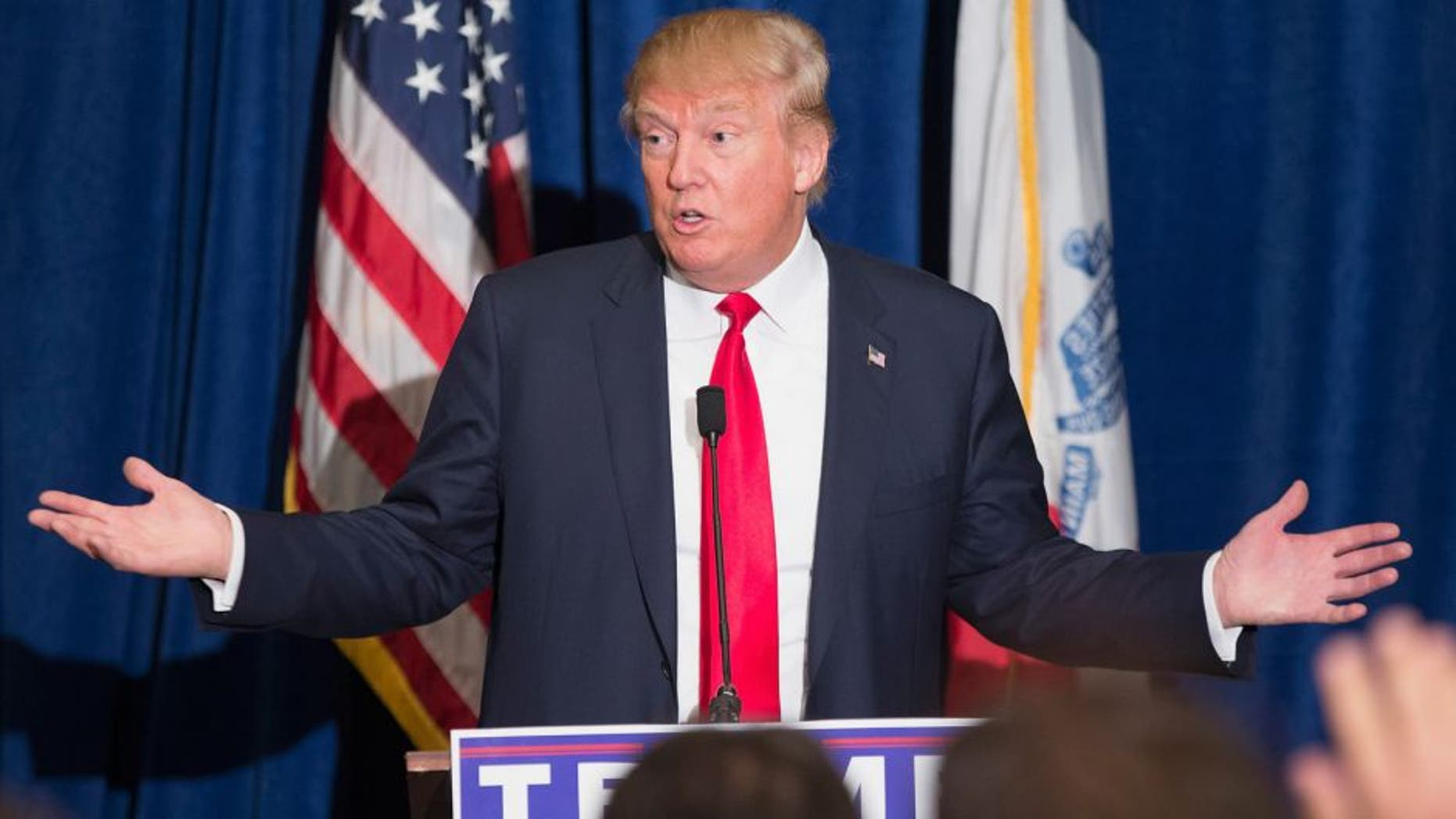 DUBUQUE, IA - AUGUST 25: Republican presidential candidate Donald Trump speaks at a press conference which he held before his campaign event at the Grand River Center on August 25, 2015 in Dubuque, Iowa. Trump leads most polls in the race for the Republican presidential nomination. (Photo by Scott Olson/Getty Images)
