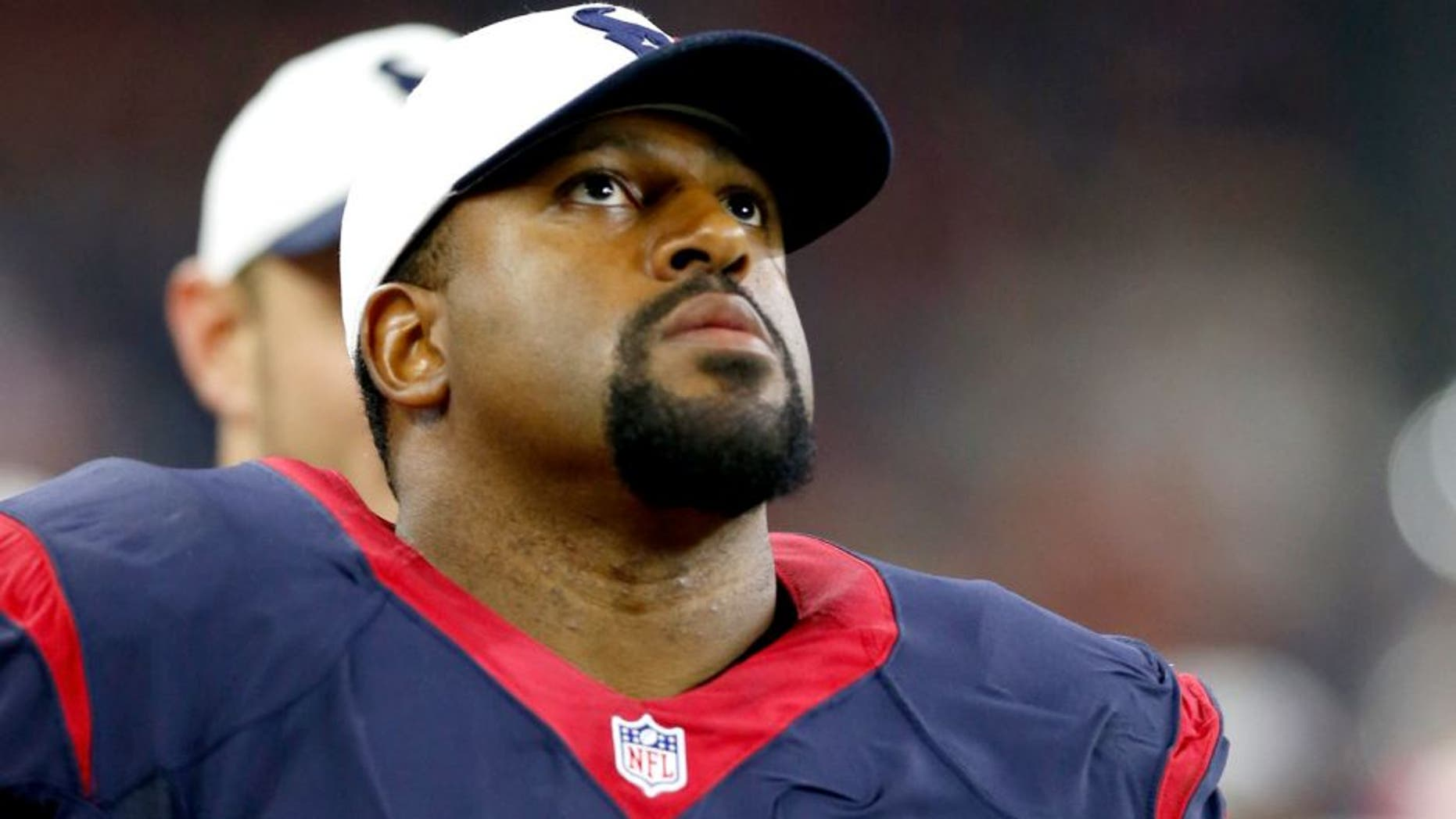 Aug 22, 2015; Houston, TX, USA; Houston Texans tackle Duane Brown (76) on the sidelines during the second half against the Denver Broncos at NRG Stadium. The Broncos beat the Texans 14-10. Mandatory Credit: Matthew Emmons-USA TODAY Sports