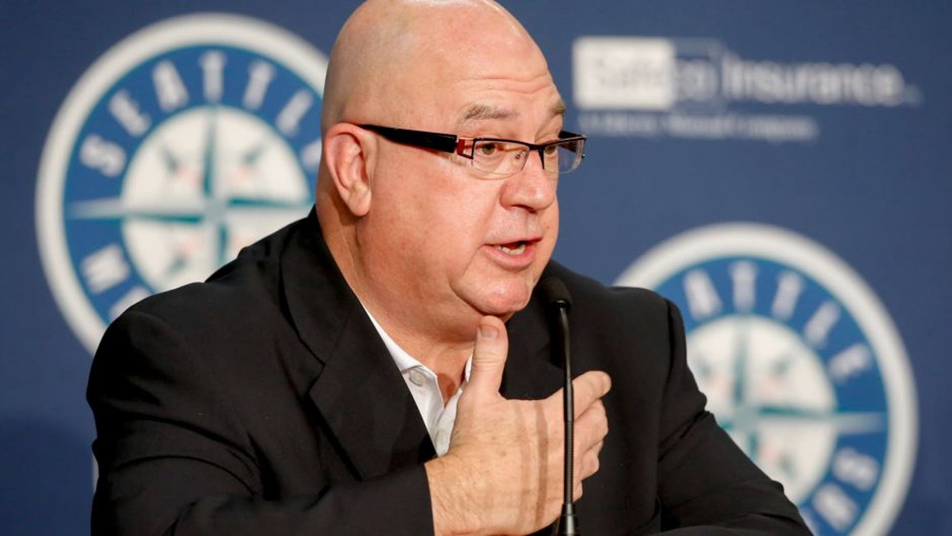 SEATTLE, WA - JUNE 23: Seattle Mariners' GM Jack Zduriencik speaks to the media during a press conference announcing the signing of first-round draft pick Alex Jackson prior to the game against the Boston Red Sox at Safeco Field on June 23, 2014 in Seattle, Washington. (Photo by Otto Greule Jr/Getty Images)