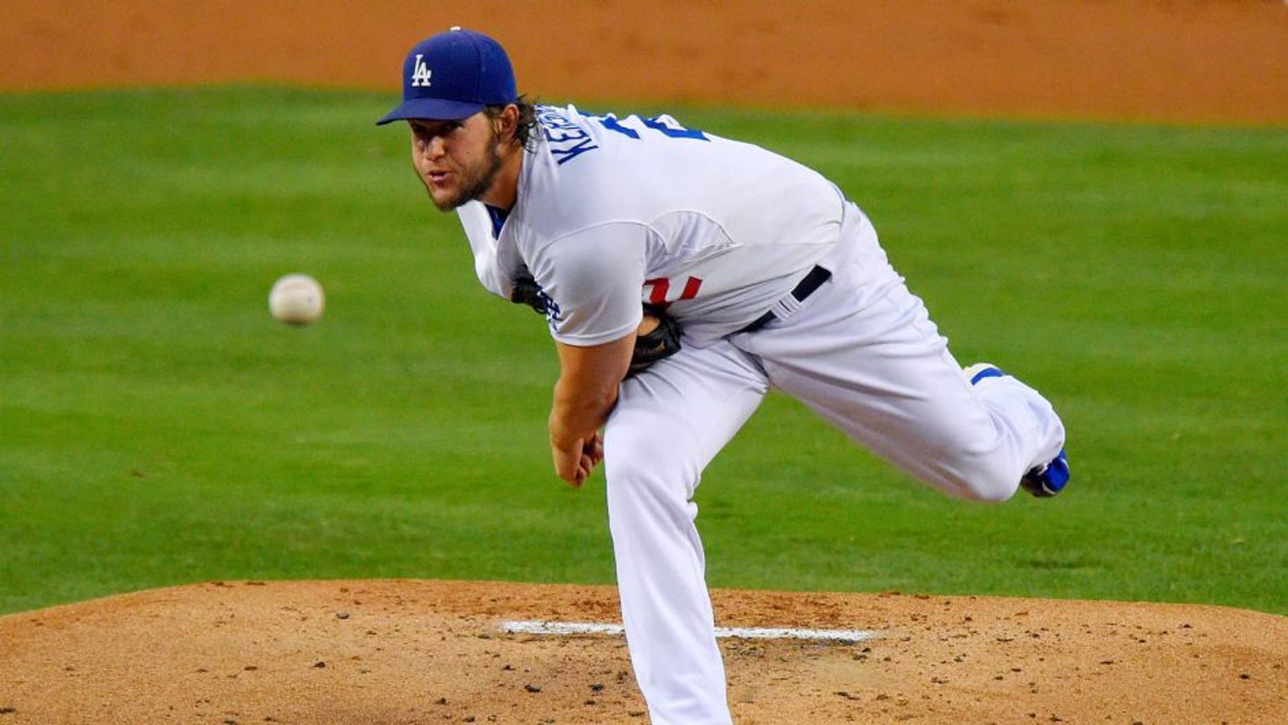 Los Angeles Dodgers starting pitcher Clayton Kershaw throws during the second inning of a baseball game against the Chicago Cubs, Friday, Aug. 28, 2015, in Los Angeles. (AP Photo/Mark J. Terrill)
