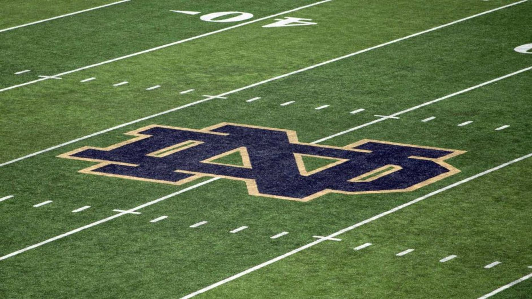 Oct 11, 2014; South Bend, IN, USA; A general view of the monogram on the 50 yard line of Notre Dame Stadium before the game between the Notre Dame Fighting Irish and the North Carolina Tar Heels. Mandatory Credit: Matt Cashore-USA TODAY Sports