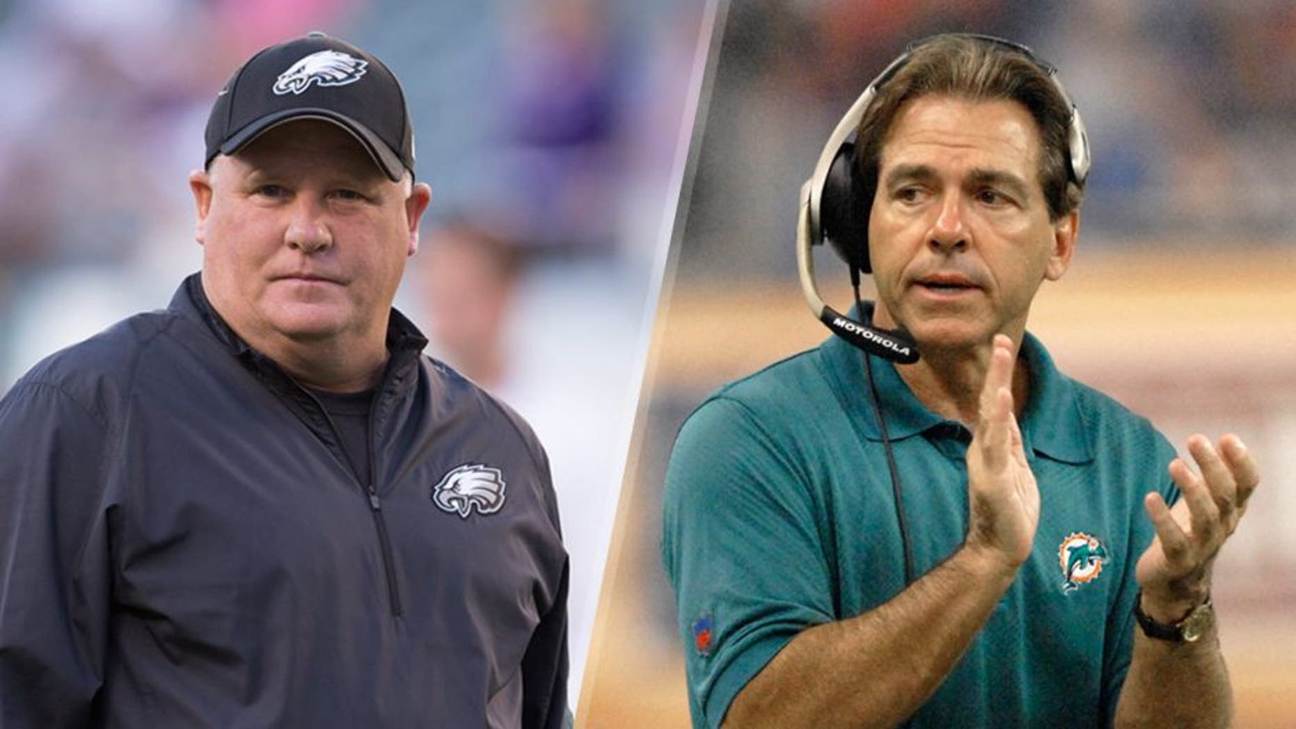 PHILADELPHIA, PA - AUGUST 22: Head coach Chip Kelly of the Philadelphia Eagles looks on prior to the game against the Baltimore Ravens on August 22, 2015 at Lincoln Financial Field in Philadelphia, Pennsylvania. (Photo by Mitchell Leff/Getty Images) Miami Dolphins coach Nick Saban on the sidelines against the Detroit Lions in a Thanksgiving Day game Nov. 23, 2006 in Detroit. The Dolphins won 21 - 10. (Photo by Al Messerschmidt/Getty Images)