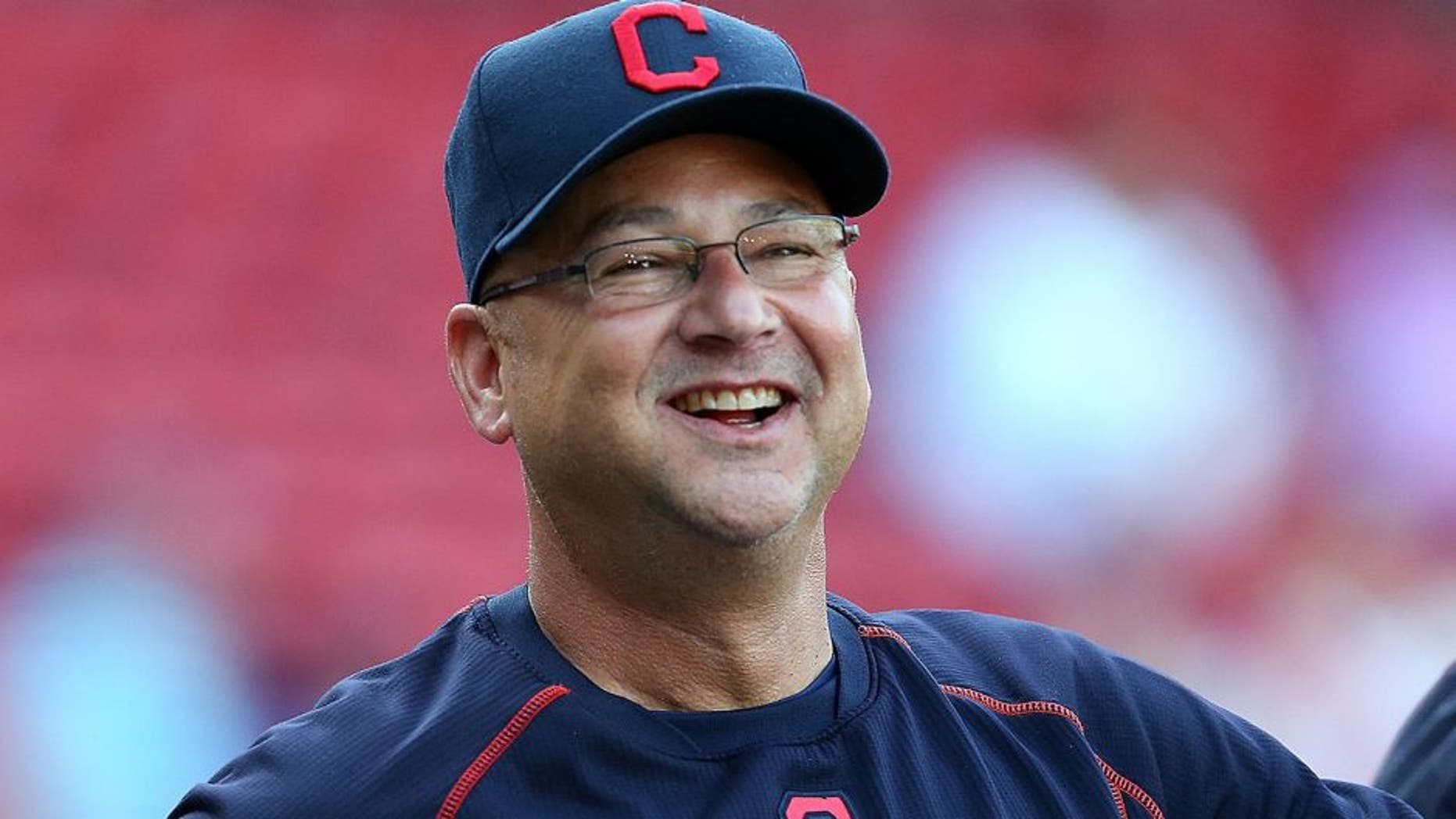 BOSTON, MA - AUGUST 19: Terry Francona #17 of the Cleveland Indians reacts during batting practice before a game with the Boston Red Sox on August 19, 2015 in Boston, Massachusetts. (Photo by Jim Rogash/Getty Images)