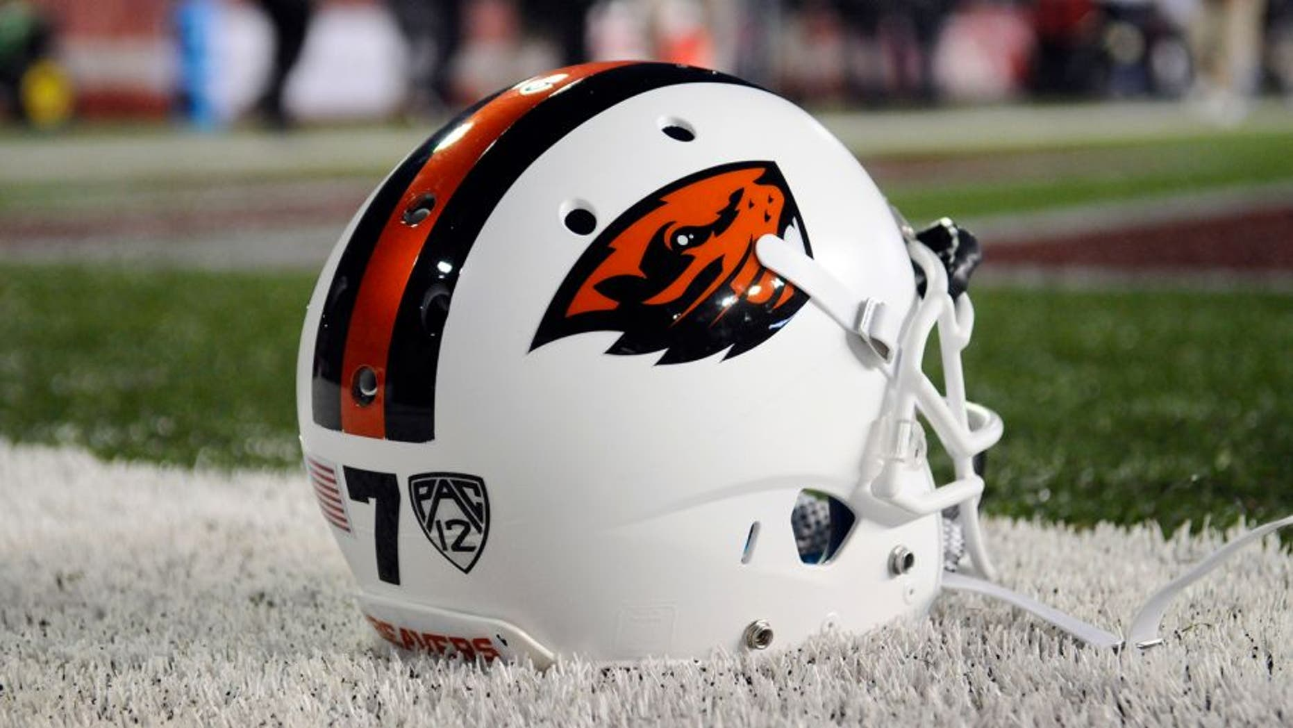 Oct 12, 2013; Pullman, WA, USA; Oregon State Beavers helmet sits on the sideline before a game against the Washington State Cougars at Martin Stadium. Mandatory Credit: James Snook-USA TODAY Sports