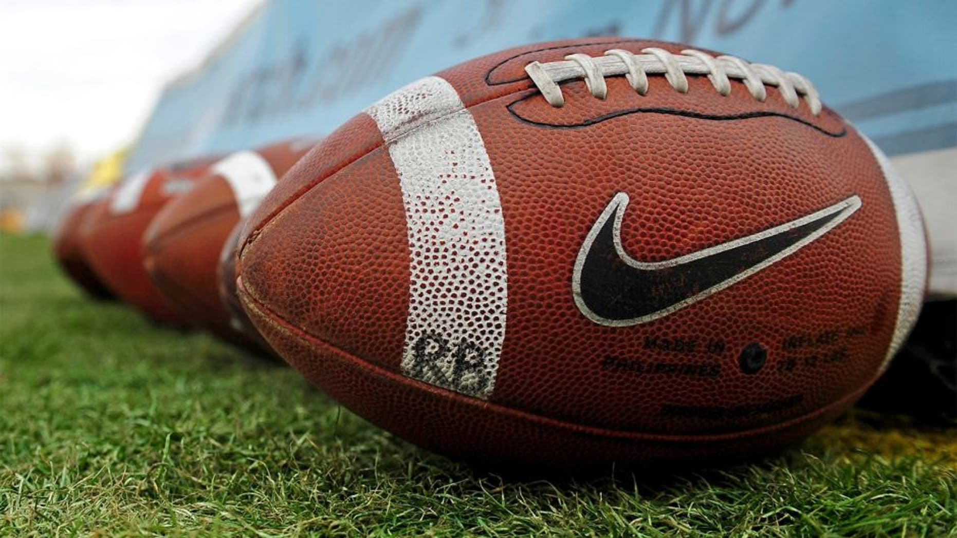 Dec. 18, 2010; Albuquerque, NM, USA; Detailed view of a Nike logo on a football prior to the game between the UTEP Miners against the BYU Cougars in the 2010 New Mexico Bowl at University Stadium. Mandatory Credit: Mark J. Rebilas-USA TODAY Sports