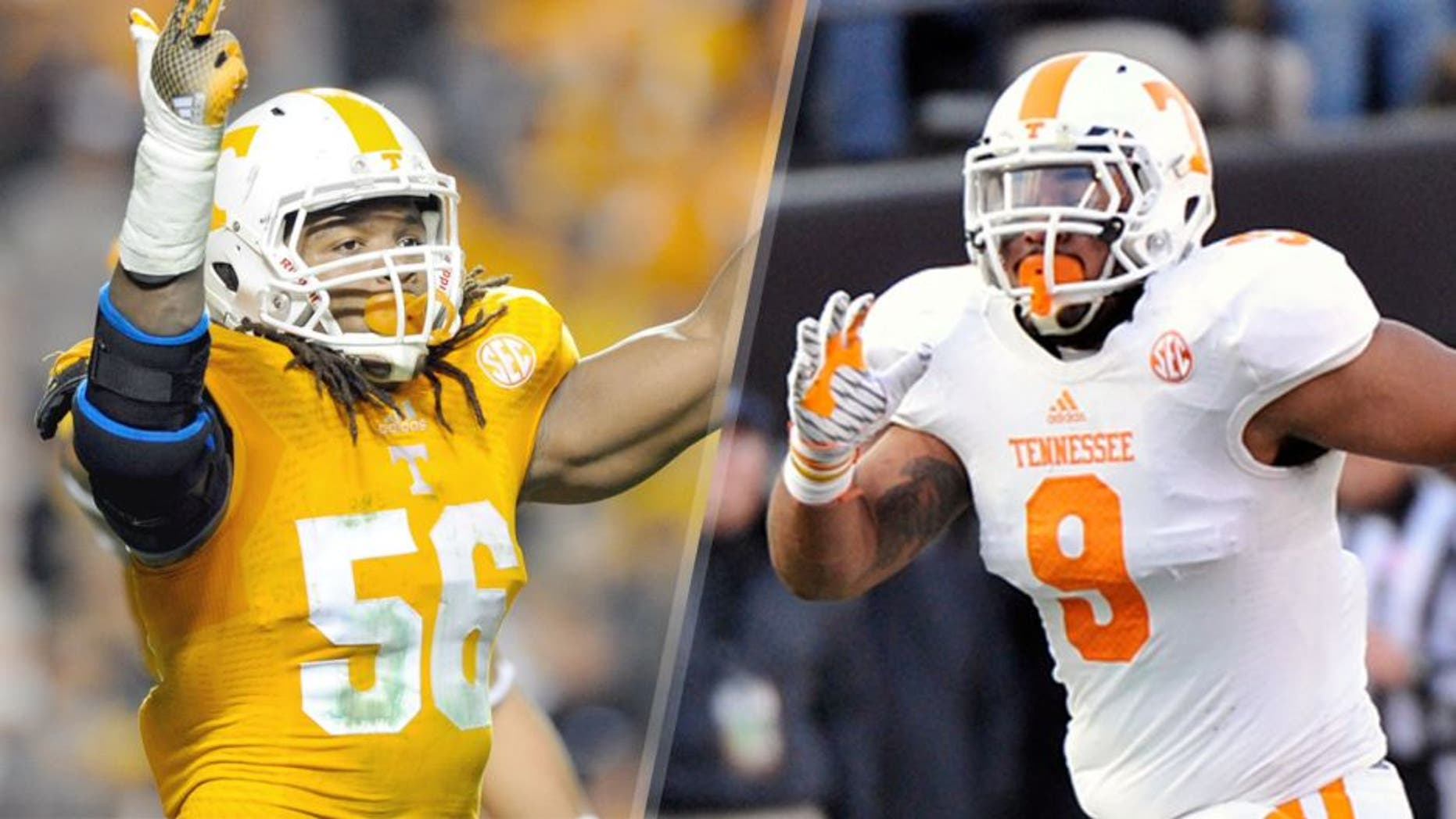 L - Nov 22, 2014; Knoxville, TN, USA; Tennessee Volunteers defensive lineman Curt Maggitt (56) during the first half against the Missouri Tigers at Neyland Stadium. Mandatory Credit: Randy Sartin-USA TODAY Sports R - NASHVILLE, TN - NOVEMBER 29: Derek Barnett #9 of the Tennessee Volunteers plays against the Vanderbilt Commodores at Vanderbilt Stadium on November 29, 2014 in Nashville, Tennessee. (Photo by Frederick Breedon/Getty Images)