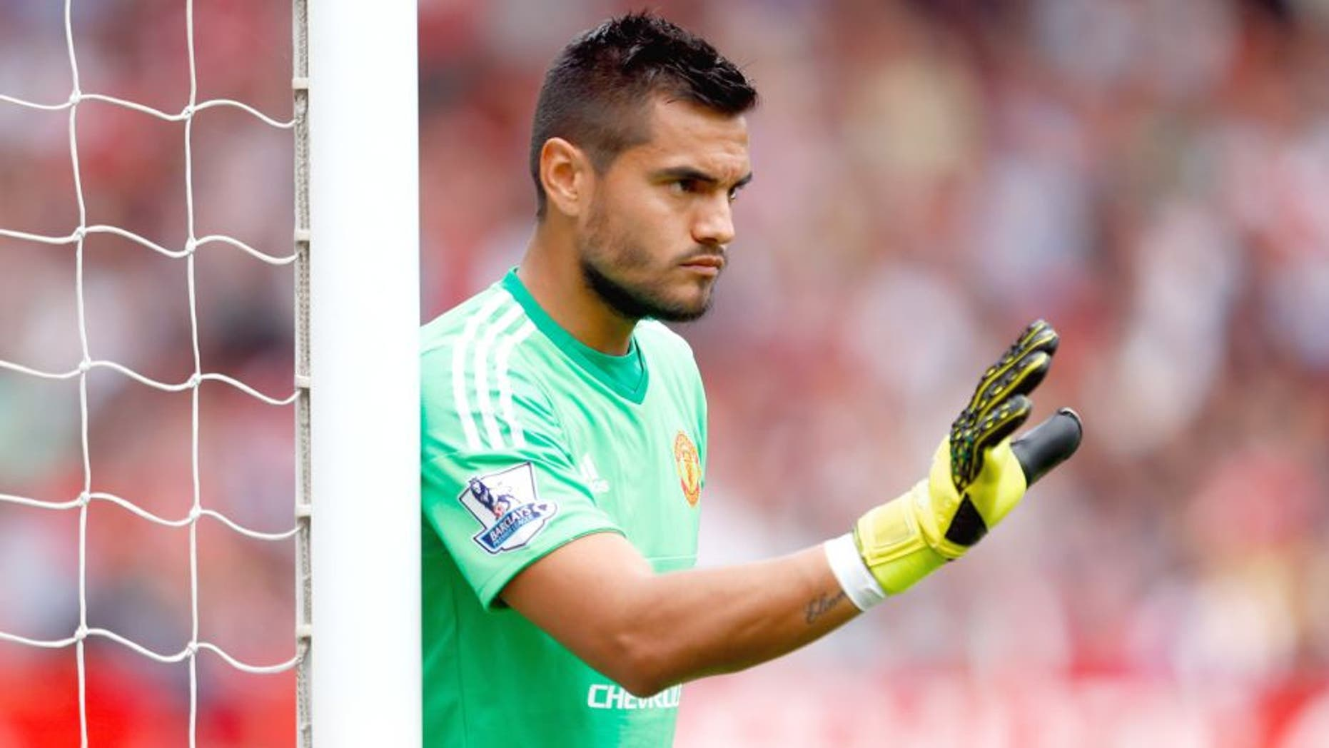 MANCHESTER, ENGLAND - AUGUST 22: Sergio Romero of Manchester United in action during the Barclays Premier League match between Manchester United and Newcastle United at Old Trafford on August 22, 2015 in Manchester, United Kingdom. (Photo by Julian Finney/Getty Images)