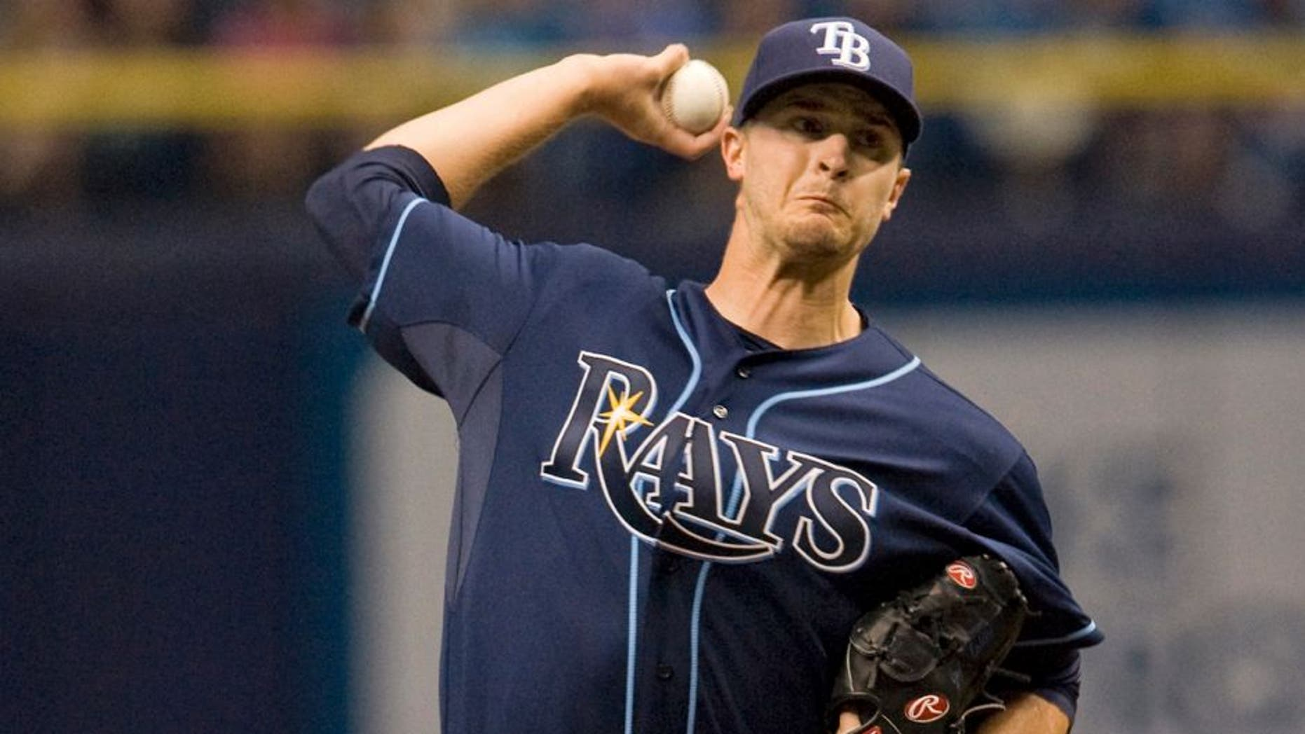 Tampa Bay Rays starter Jake Odorizzi pitches against the Kansas City Royals during the first inning of a baseball game Saturday, Aug. 29, 2015, in St. Petersburg, Fla. (AP Photo/Steve Nesius)