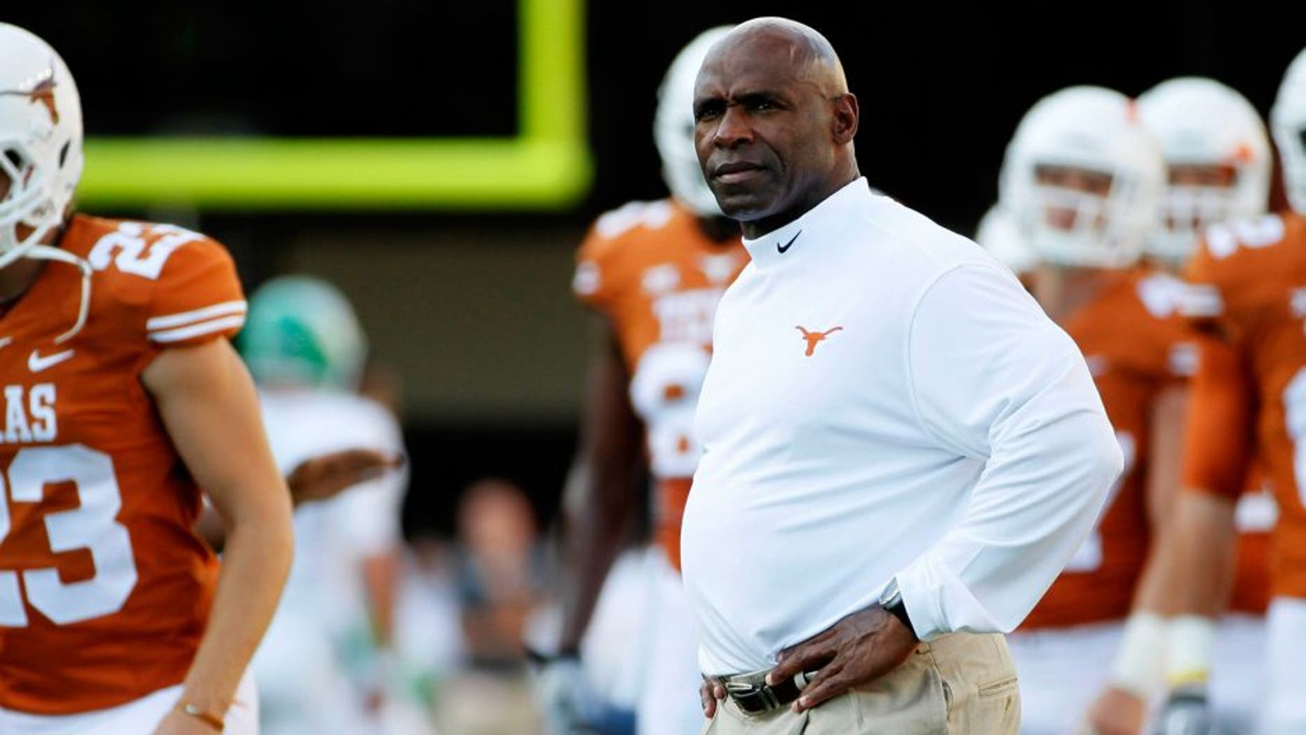 Aug 30, 2014; Austin, TX, USA; Texas Longhorns head coach Charlie Strong during warm ups before the game against the North Texas Mean Green at Darrell K Royal-Texas Memorial Stadium. Mandatory Credit: Soobum Im-USA TODAY Sports