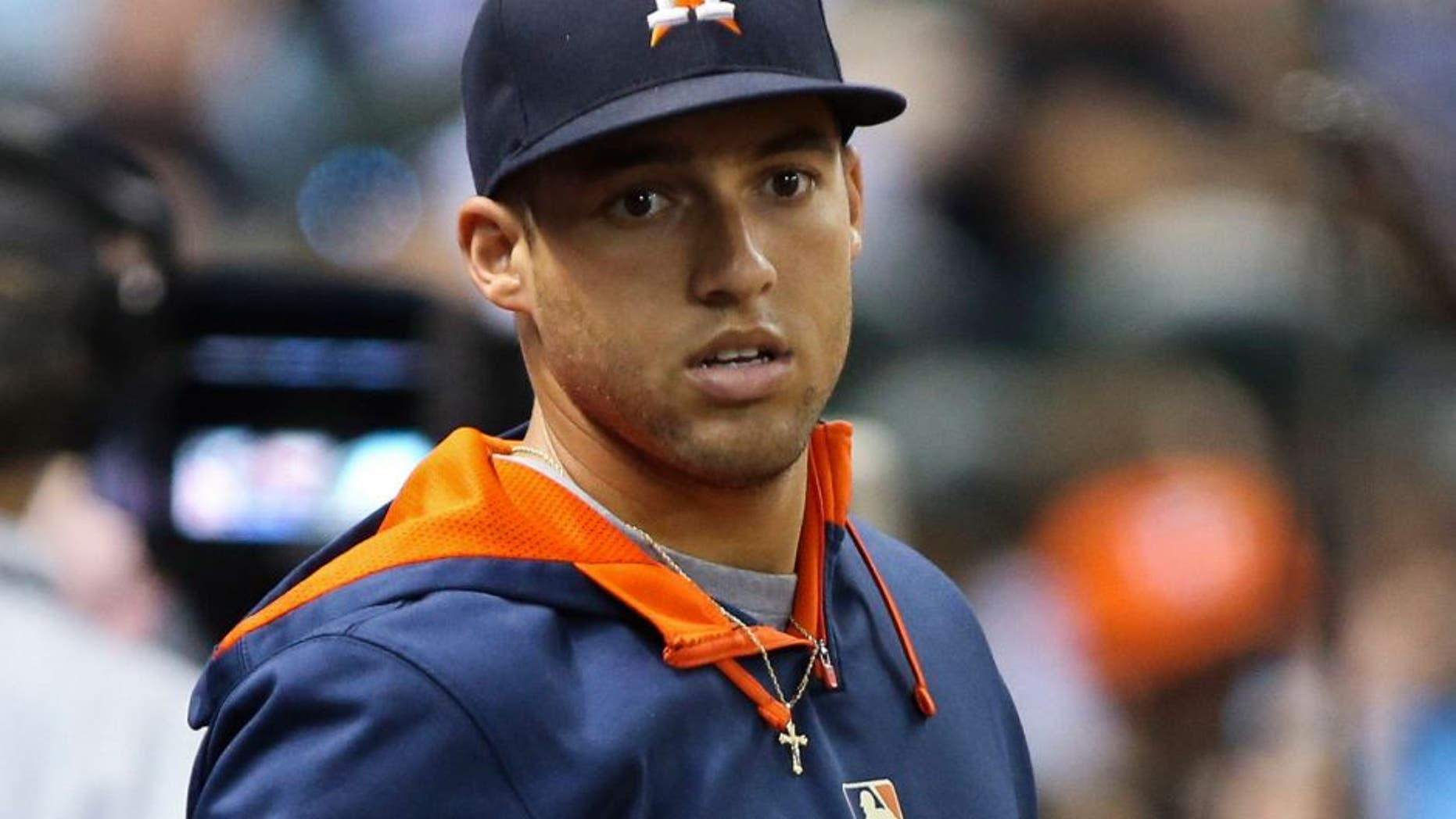 Aug 20, 2015; Houston, TX, USA; Houston Astros right fielder George Springer (4) in the dugout during the game against the Tampa Bay Rays at Minute Maid Park. Mandatory Credit: Troy Taormina-USA TODAY Sports