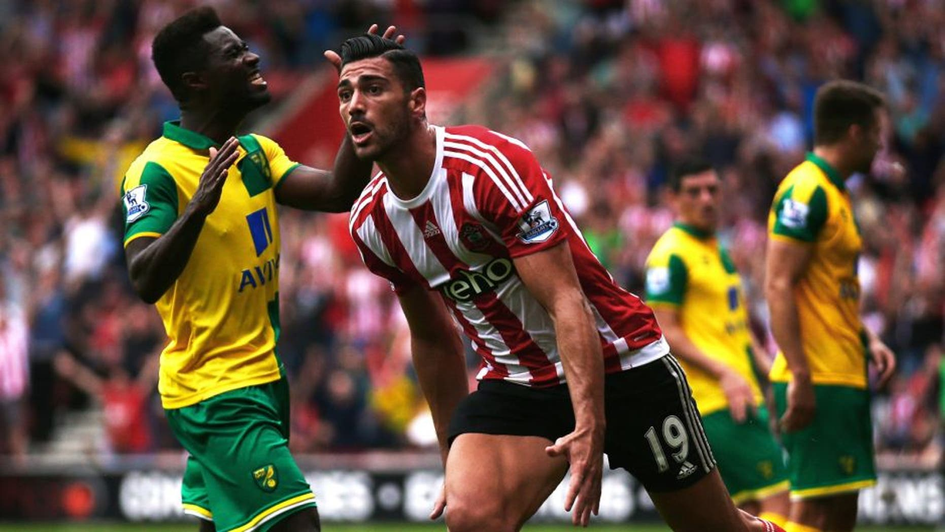 SOUTHAMPTON, ENGLAND - AUGUST 30: Graziano Pelle of Southampton celebrates scoring the opening goal during the Barclays Premier League match between Southampton and Norwich City at St Mary's Stadium on August 30, 2015 in Southampton, England. (Photo by Paul Gilham/Getty Images)