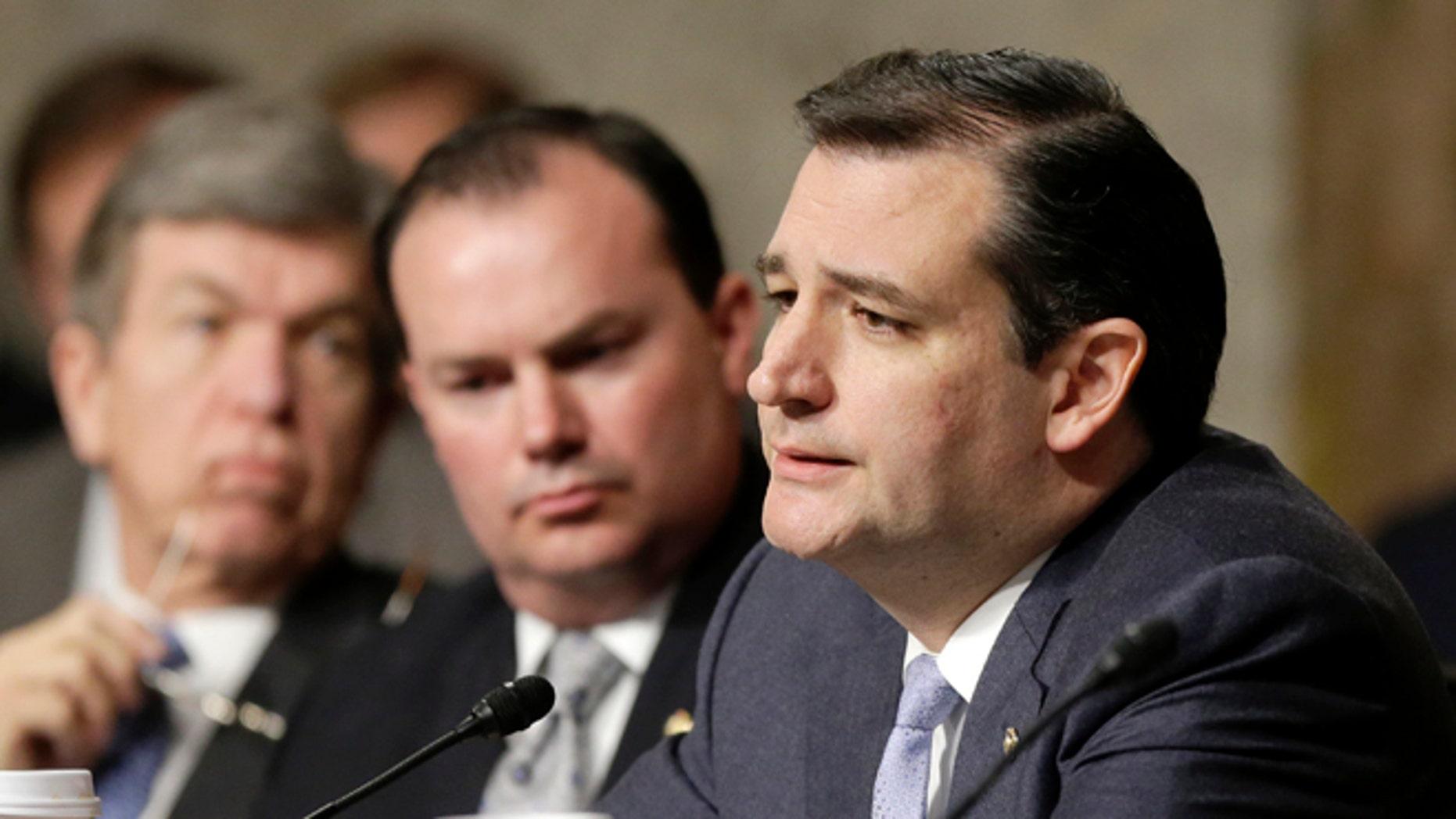 FILE: Jan. 31, 2013: Texas GOP Sen. Ted Cruz on Capitol Hill, in Washington, D.C.