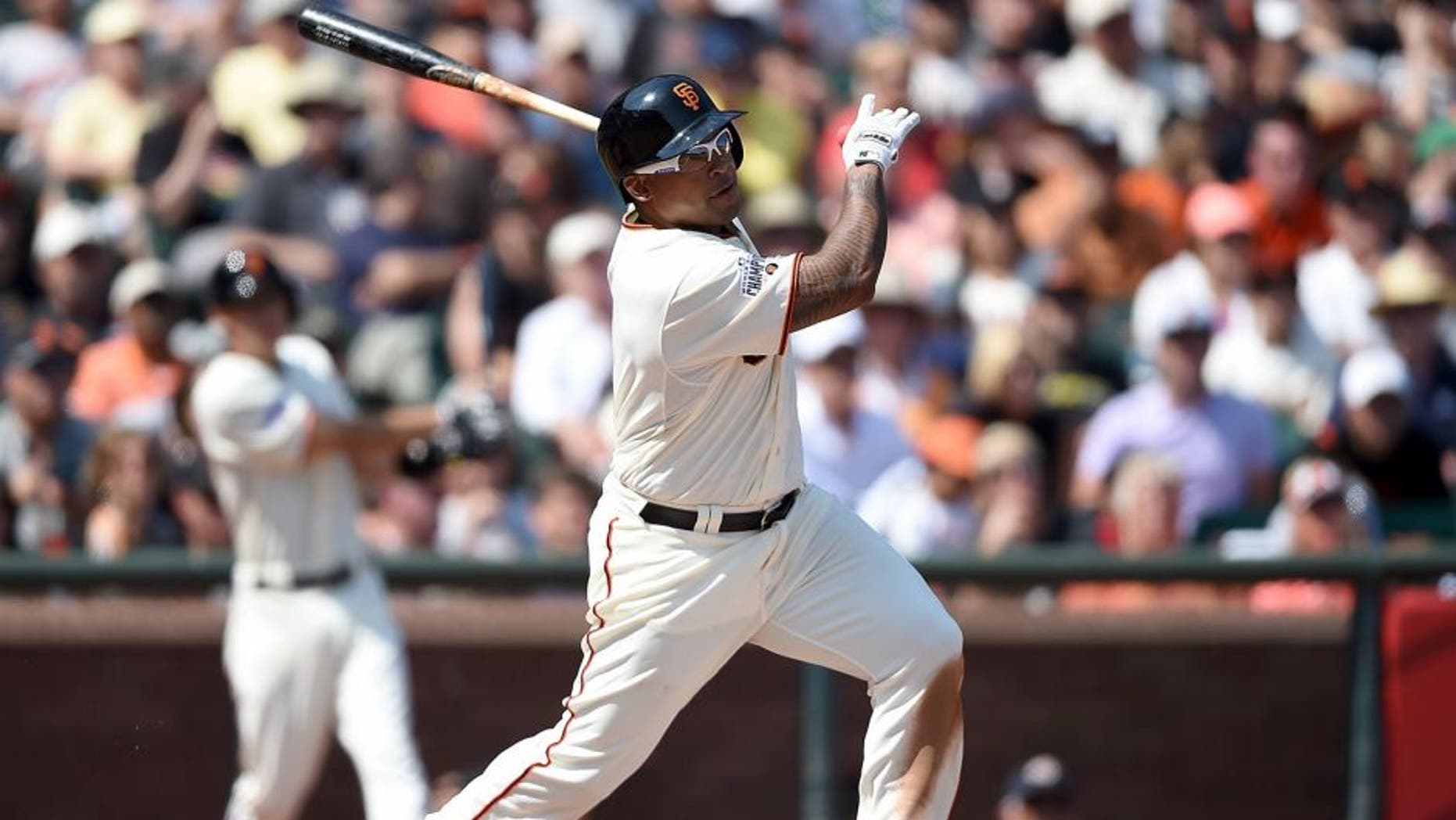 SAN FRANCISCO, CA - AUGUST 30: Marlon Byrd #6 of the San Francisco Giants hits an rbi double scoring Brandon Belt #9 against the St. Louis Cardinals in the bottom of the six inning at AT&T Park on August 30, 2015 in San Francisco, California. (Photo by Thearon W. Henderson/Getty Images)
