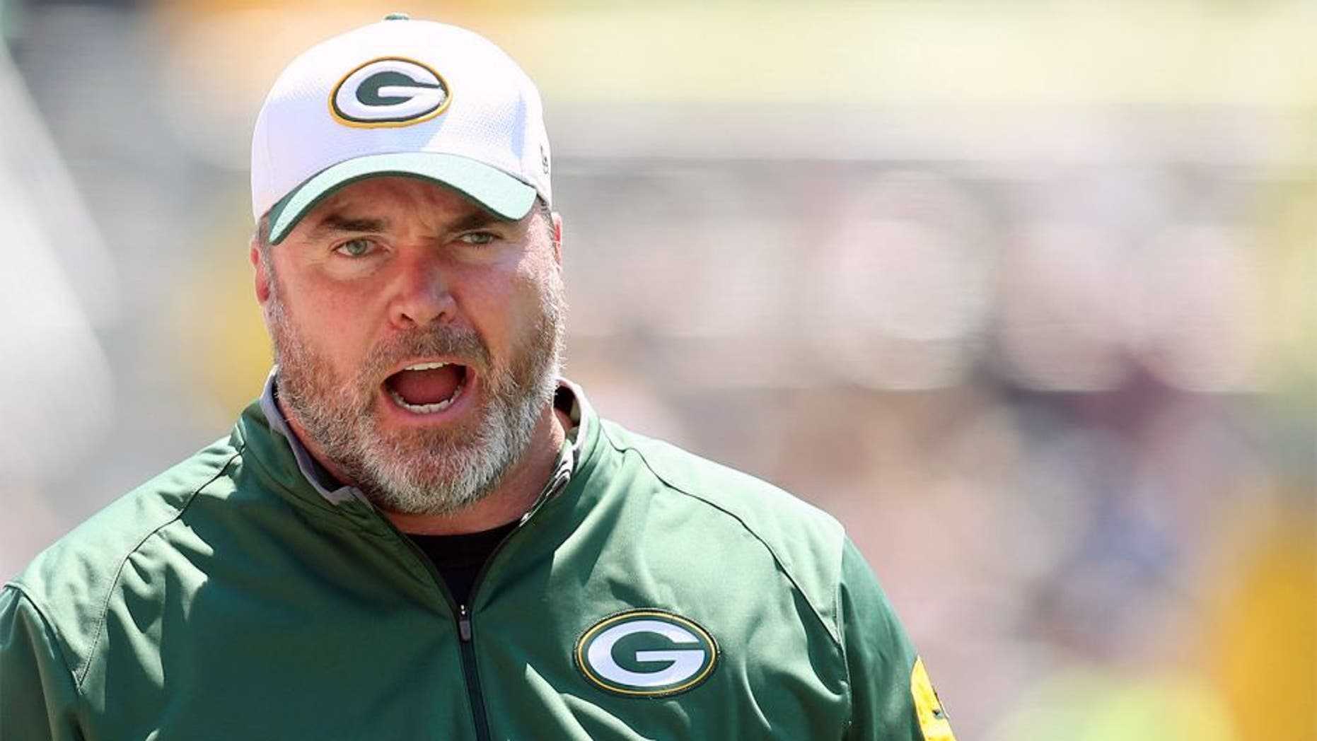 Aug 23, 2015; Pittsburgh, PA, USA; Green Bay Packers head coach Mike McCarthy reacts on the sidelines against the Pittsburgh Steelers during the second quarter at Heinz Field. Mandatory Credit: Charles LeClaire-USA TODAY Sports