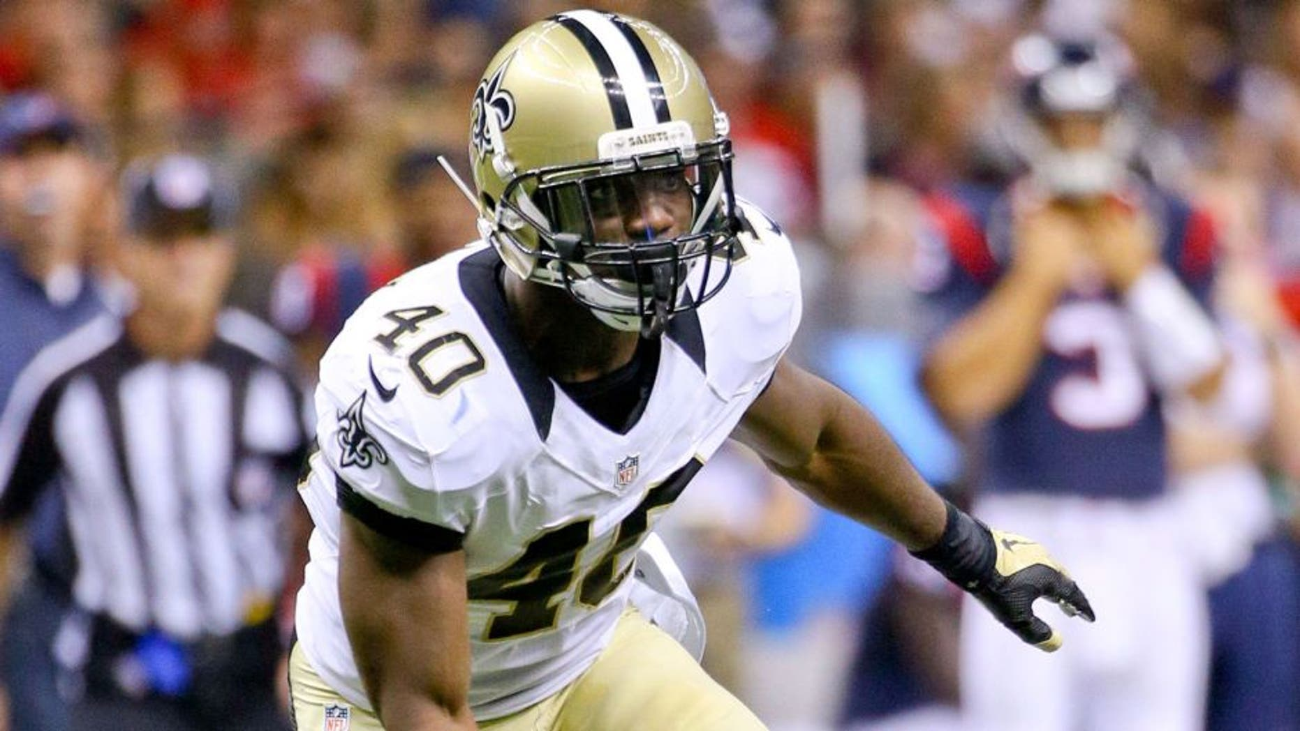 Aug 30, 2015; New Orleans, LA, USA; New Orleans Saints defensive back Delvin Breaux (40) against the Houston Texans during the first half of a preseason game at the Mercedes-Benz Superdome. Mandatory Credit: Derick E. Hingle-USA TODAY Sports