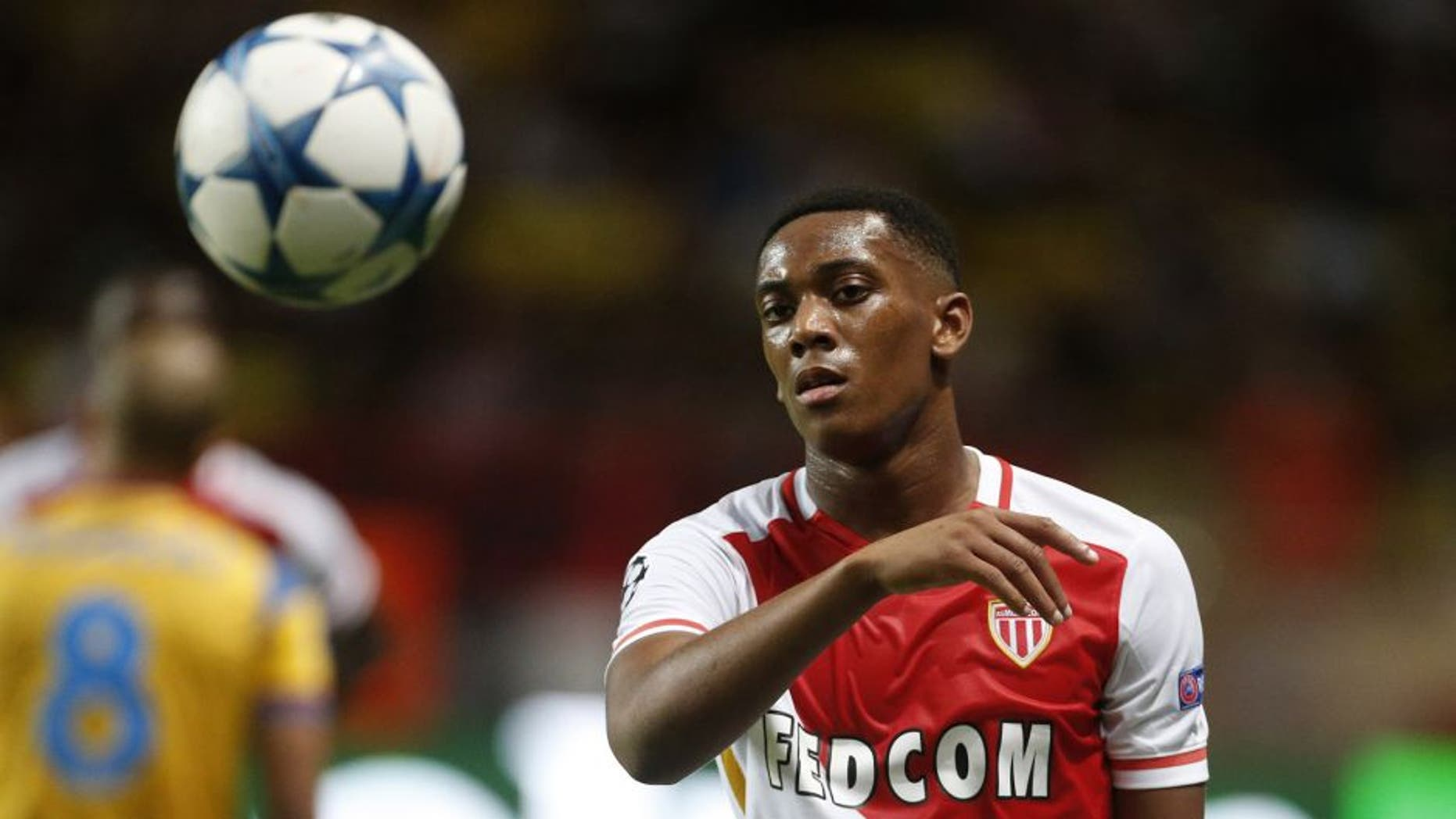 MONACO - AUGUST 25: Anthony Martial of Monaco in action during the UEFA Champions League play off round 2nd leg between AS Monaco and Valencia CF at Stade Louis II on August 25, 2015 in Monaco. (Photo by Jean Catuffe/Getty Images)