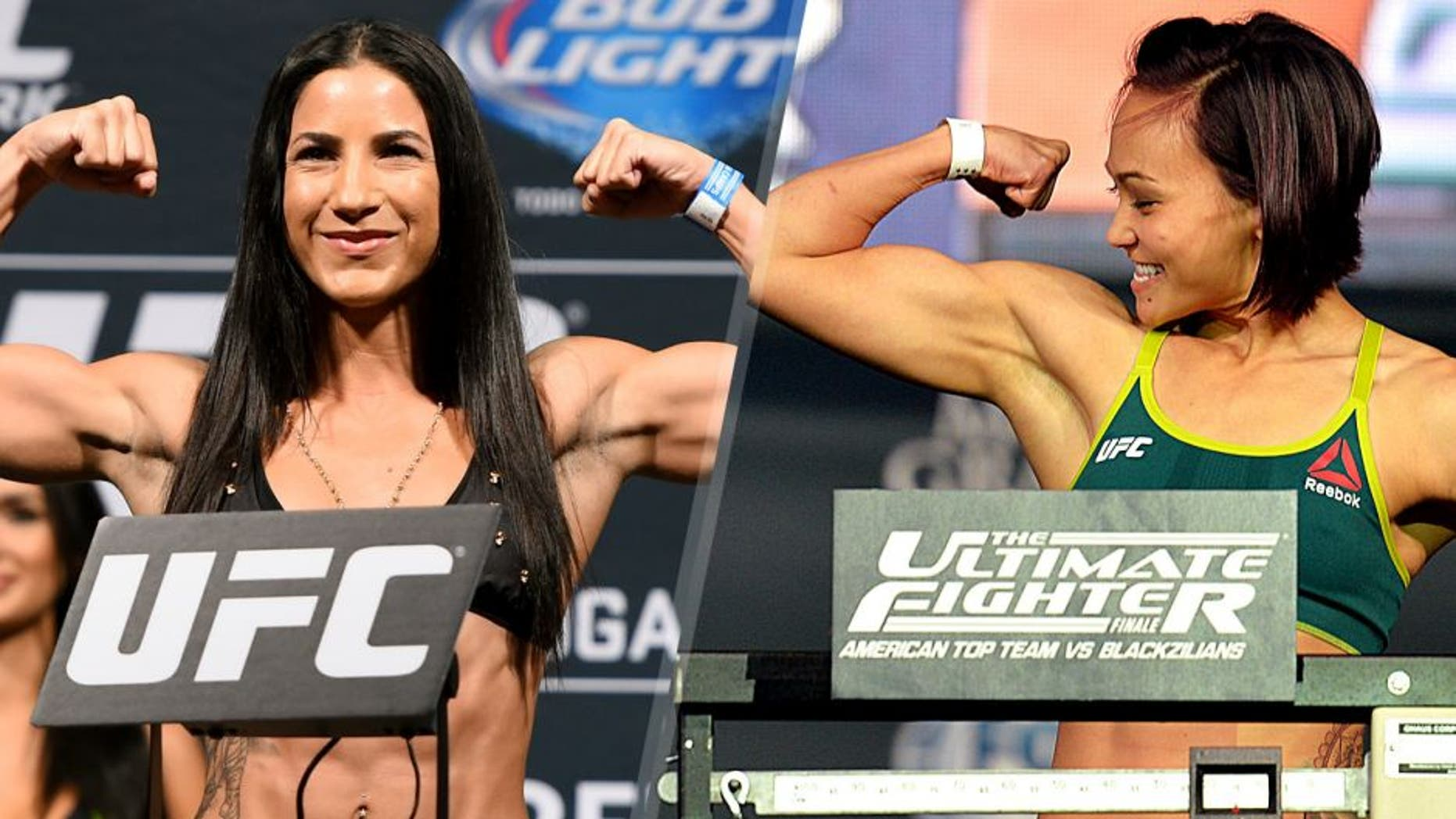 MEXICO CITY, MEXICO - JUNE 12: Tecia Torres of the United States steps on the scale during the UFC 188 weigh-in inside the Arena Ciudad de Mexico on June 12, 2015 in Mexico City, Mexico. (Photo by Josh Hedges/Zuffa LLC/Zuffa LLC via Getty Images) LAS VEGAS, NEVADA - JULY 11: Michelle Waterson steps onto the scale during the TUF 21 Finale Weigh-in at the UFC Fan Expo in the Sands Expo and Convention Center on July 11, 2015 in Las Vegas Nevada. (Photo by Brandon Magnus/Zuffa LLC/Zuffa LLC via Getty Images)