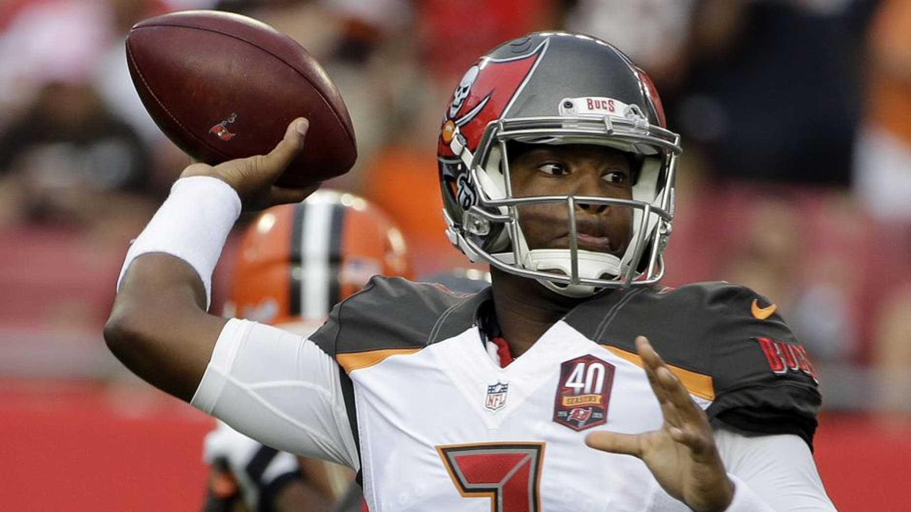 Tampa Bay Buccaneers quarterback Jameis Winston (3) throws a pass against the Cleveland Browns during the first quarter of an NFL preseason football game Saturday, Aug. 29, 2015, in Tampa, Fla. (AP Photo/Chris O'Meara)