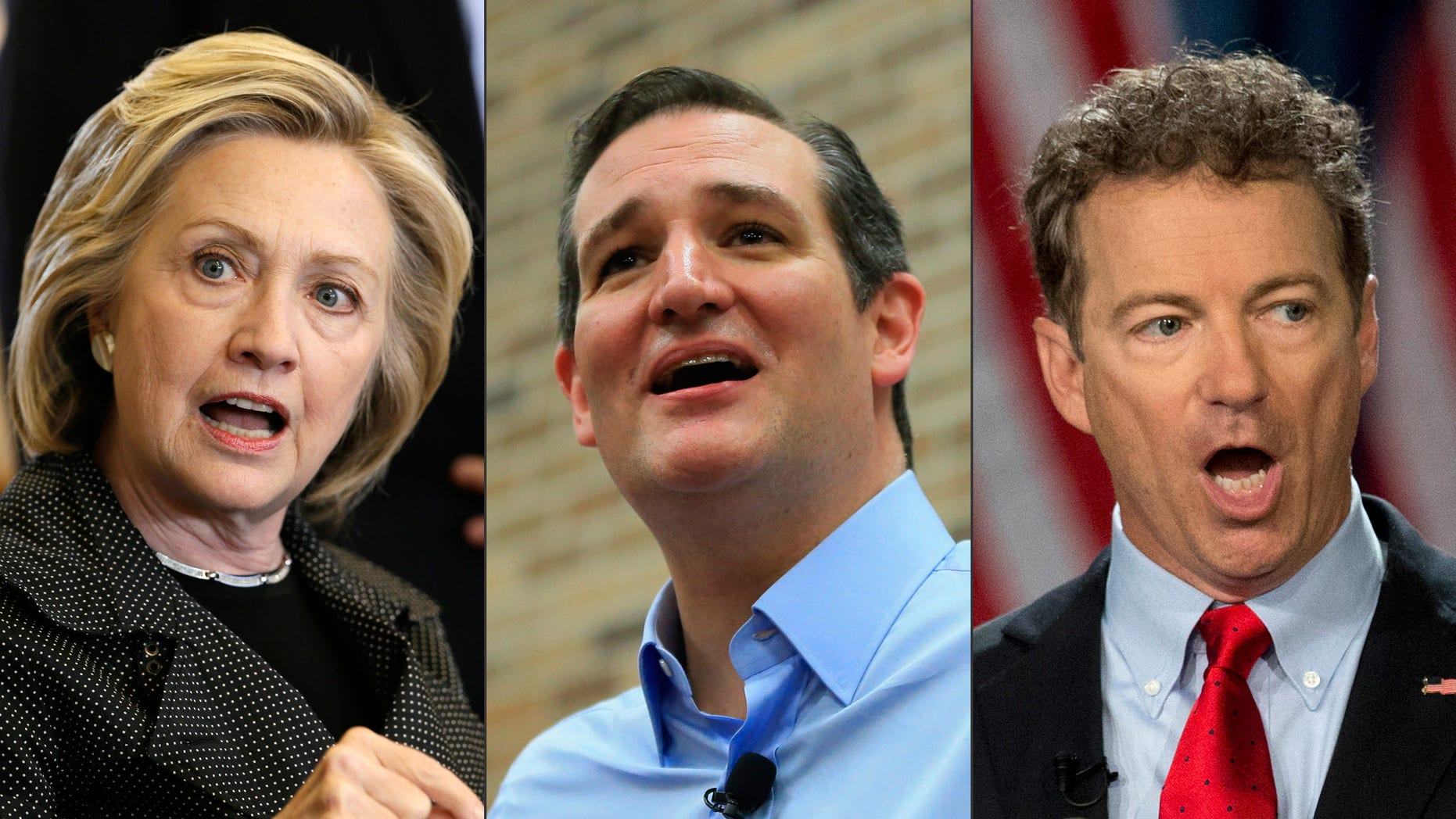 This photo combination shows, from left, Democratic presidential candidate Hillary Rodham Clinton, left, Republican presidential candidate, U.S. Sen. Ted Cruz, of Texas, and Republican presidential candidate Rand Paul, of Kentucky. Small businesses arenât in the dire straits they were four years ago, but presidential candidates arenât letting go of an issue they think will get them votes. (AP Photo/Charlie Neibergall/Nati Harnik/Carloyn Kaster)