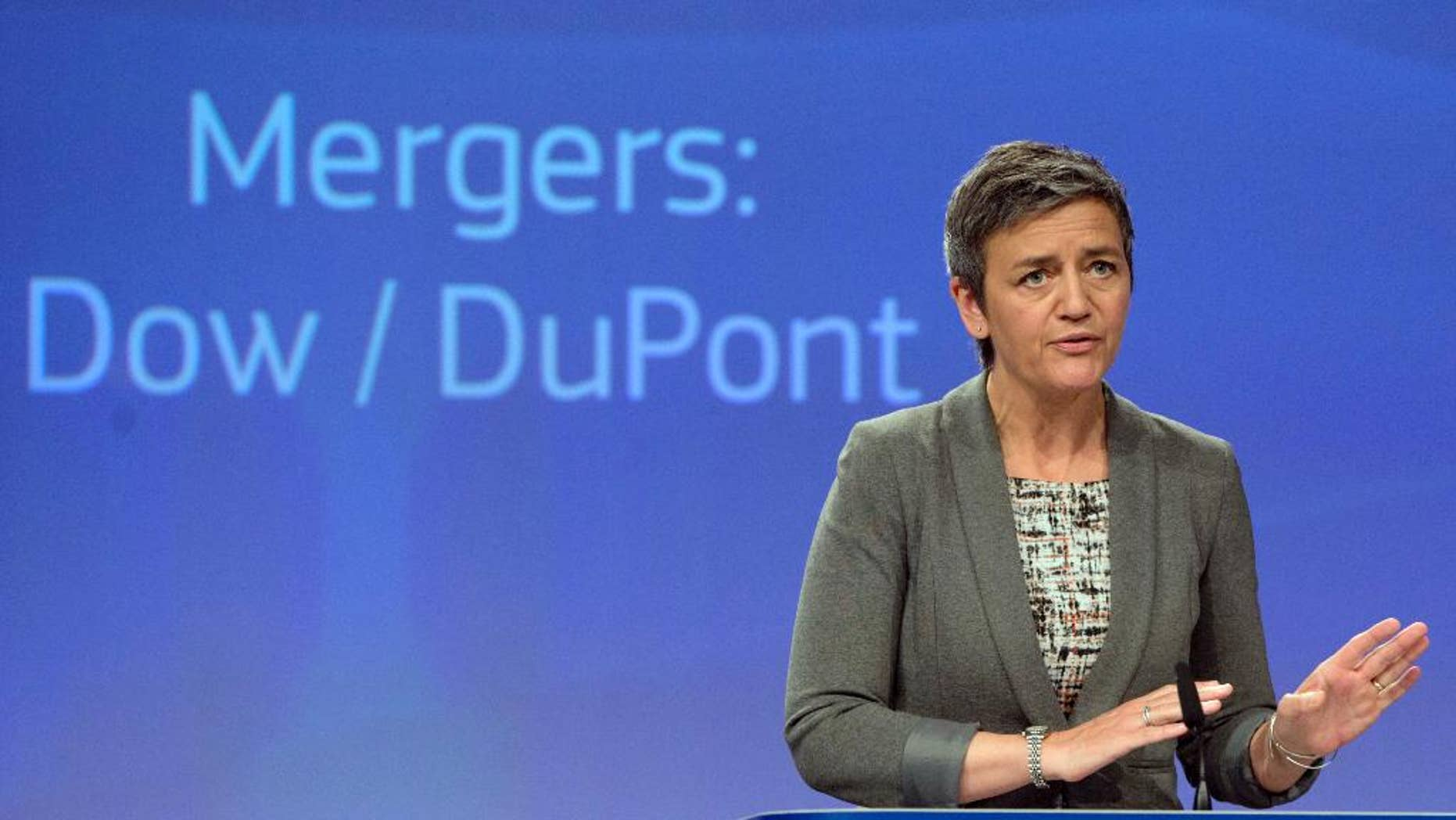 European Commissioner for Competition Margrethe Vestager speaks during a media conference at EU headquarters in Brussels on Monday, March 27, 2017. The European Union has approved the proposed merger of Dow Chemical and Du Pont, saying that the companies' commitments to divest businesses have addressed its concerns. (AP Photo/Virginia Mayo)