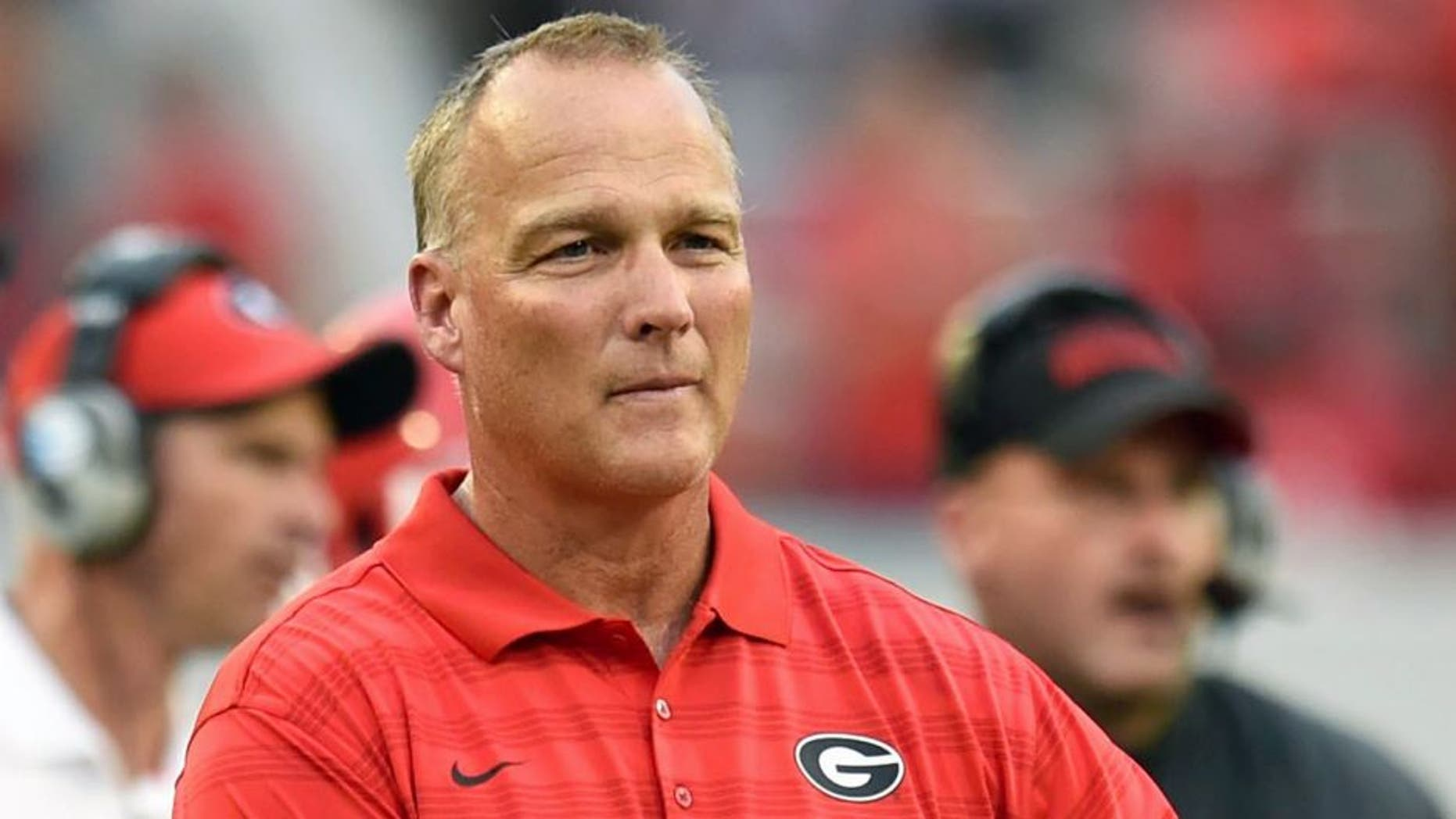 Aug 30, 2014; Athens, GA, USA; Georgia Bulldogs head coach Mark Richt shown on the sidelines during the game against the Clemson Tigers during the first half at Sanford Stadium. Georgia defeated Clemson 45-21. Mandatory Credit: Dale Zanine-USA TODAY Sports