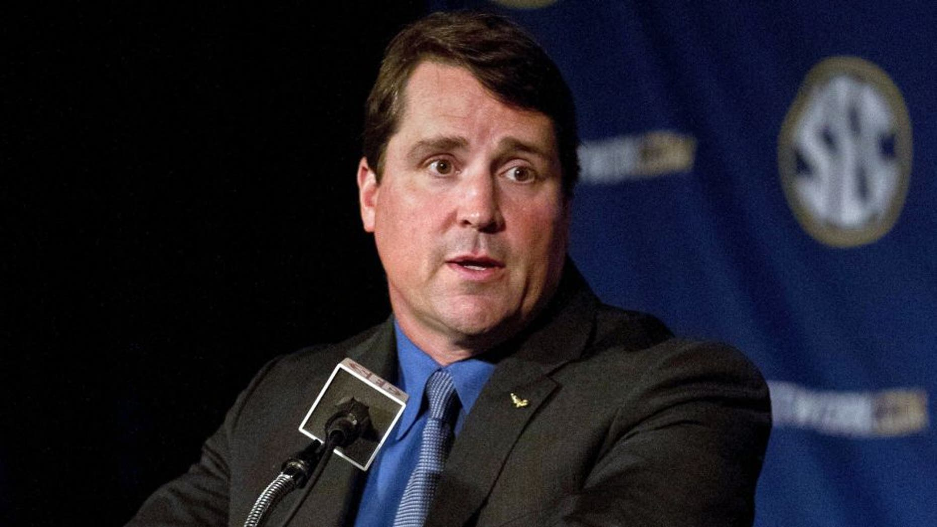Jul 14, 2014; Hoover, AL, USA; Florida head coach Will Muschamp talks to the media during the SEC Football Media Days at the Wynfrey Hotel. Mandatory Credit: Marvin Gentry-USA TODAY Sports