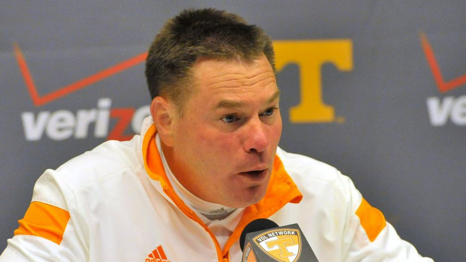 Nov 22, 2014; Knoxville, TN, USA; Tennessee Volunteers head coach Butch Jones talks with the media following the game against the Missouri Tigers at Neyland Stadium. Missouri won 29-21. Mandatory Credit: Jim Brown-USA TODAY Sports