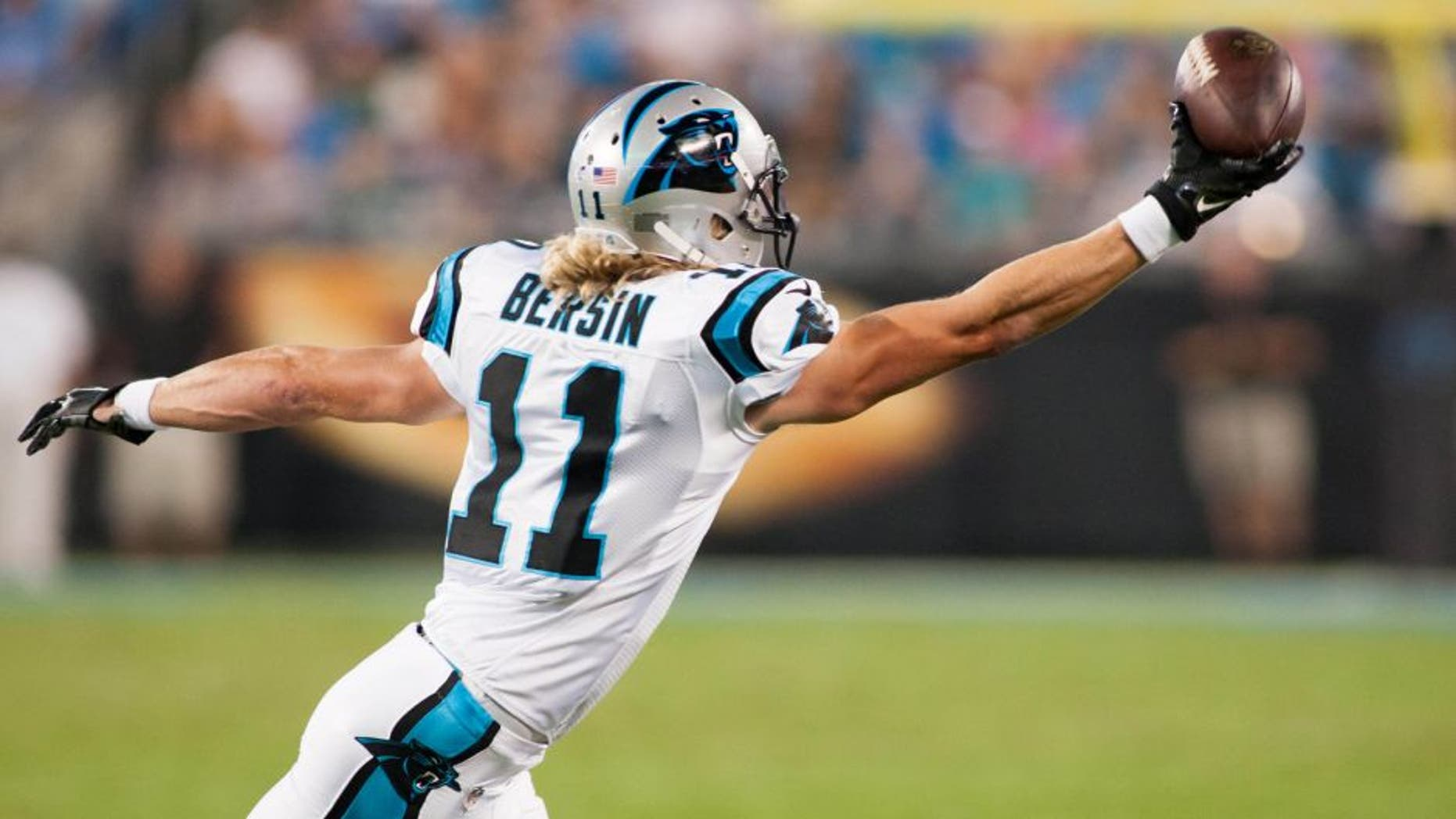Aug 22, 2015; Charlotte, NC, USA; Carolina Panthers wide receiver Brenton Bersin (11) tries to catch a pass off his finger tips during the second quarter against the Miami Dolphins at Bank of America Stadium. Mandatory Credit: Jeremy Brevard-USA TODAY Sports