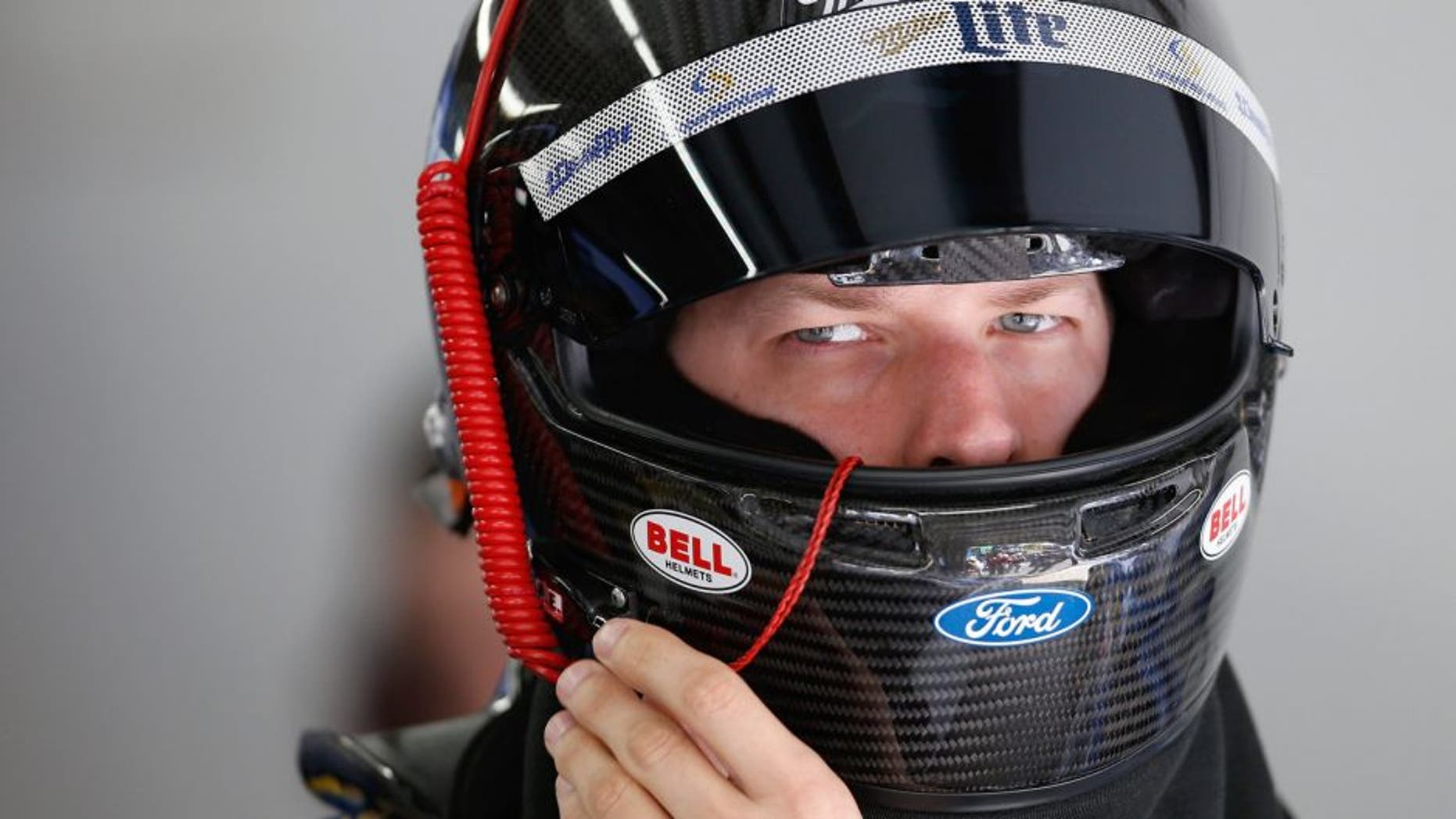 LOUDON, NH - SEPTEMBER 26: Brad Keselowski, driver of the #2 Miller Lite Ford, prepares his equipment in the garage area during practice for the NASCAR Sprint Cup Series Sylvania 300 at New Hampshire Motor Speedway on September 26, 2015 in Loudon, New Hampshire. (Photo by Todd Warshaw/NASCAR via Getty Images)