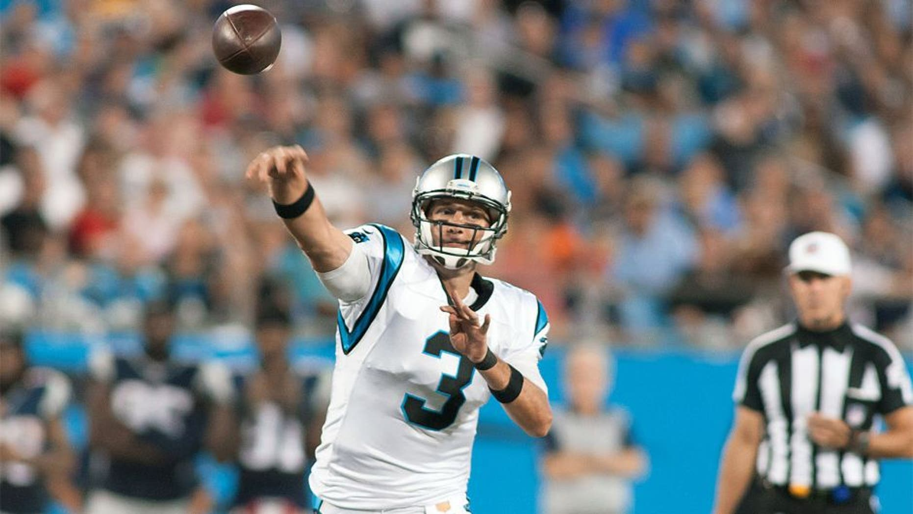 Aug 28, 2015; Charlotte, NC, USA; Carolina Panthers quarterback Derek Anderson (3) throws a pass during the third quarter against the New England Patriots at Bank of America Stadium. The Patriots defeated the Panthers 17-16. Mandatory Credit: Jeremy Brevard-USA TODAY Sports