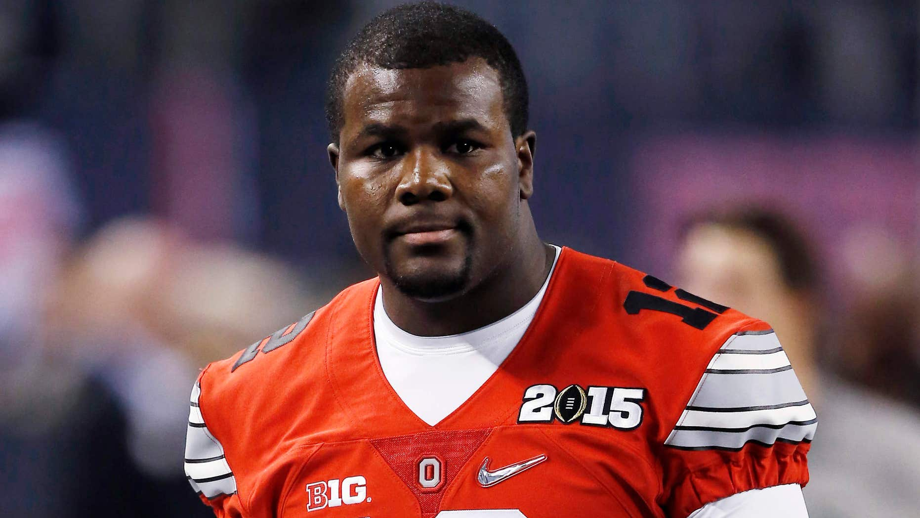 Jan. 12, 2015: Ohio State's Cardale Jones warms up for the NCAA college football playoff championship game against Oregon in Arlington, Texas.