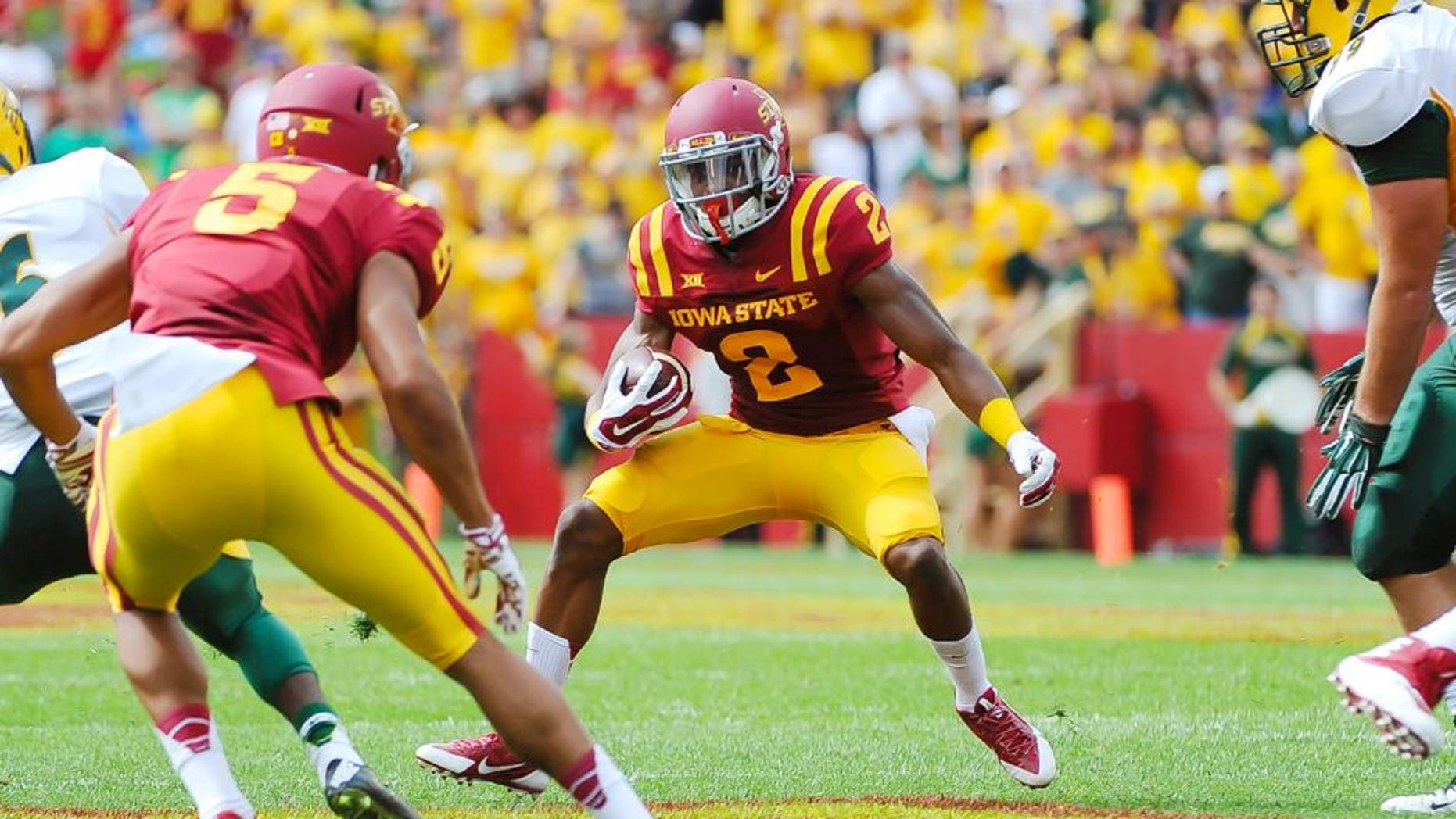 Aug 30, 2014; Ames, IA, USA; Iowa State Cyclones running back Aaron Wimberly (2) finds a hole against the North Dakota State Bison at Jack Trice Stadium. Mandatory Credit: Steven Branscombe-USA TODAY Sports