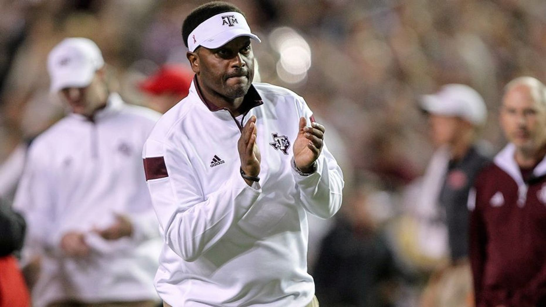 Oct 11, 2014; College Station, TX, USA; Texas A&M Aggies head coach Kevin Sumlin before a game against the Mississippi Rebels at Kyle Field. Mandatory Credit: Troy Taormina-USA TODAY Sports